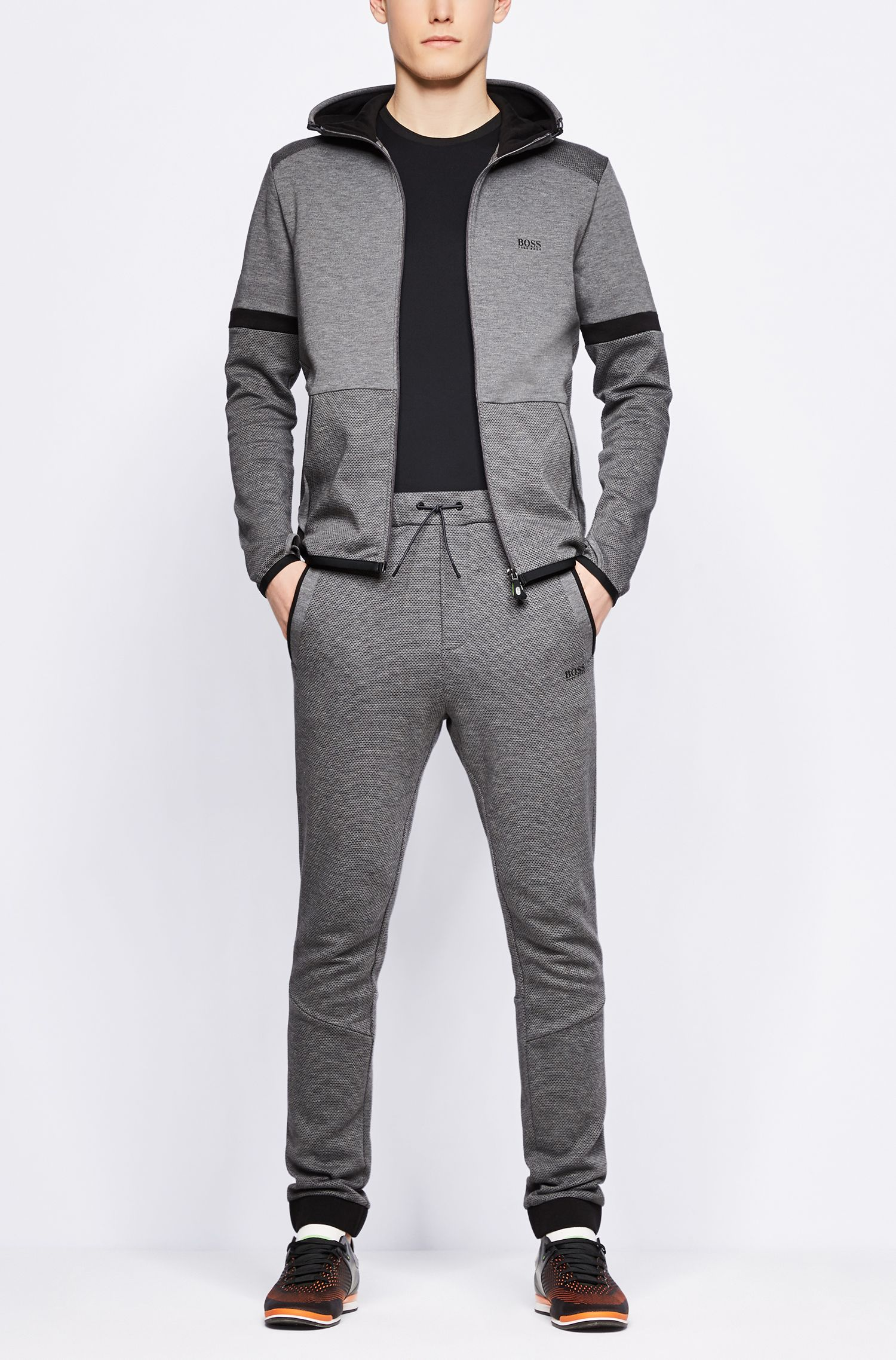 Cuffed jogging bottoms in micro-patterned double-faced jersey