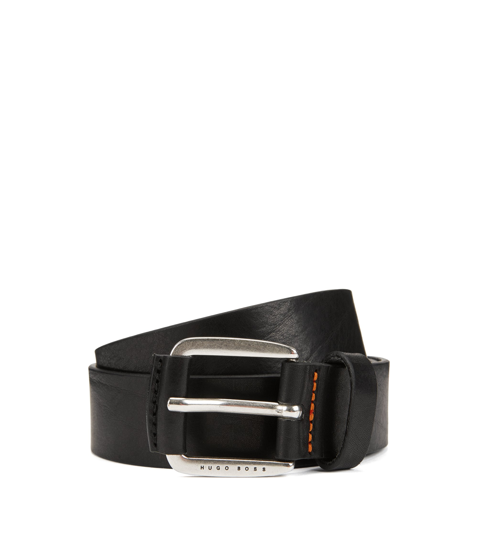 Gürtel aus Glattleder mit lederbezogenen Metall-Details, Schwarz