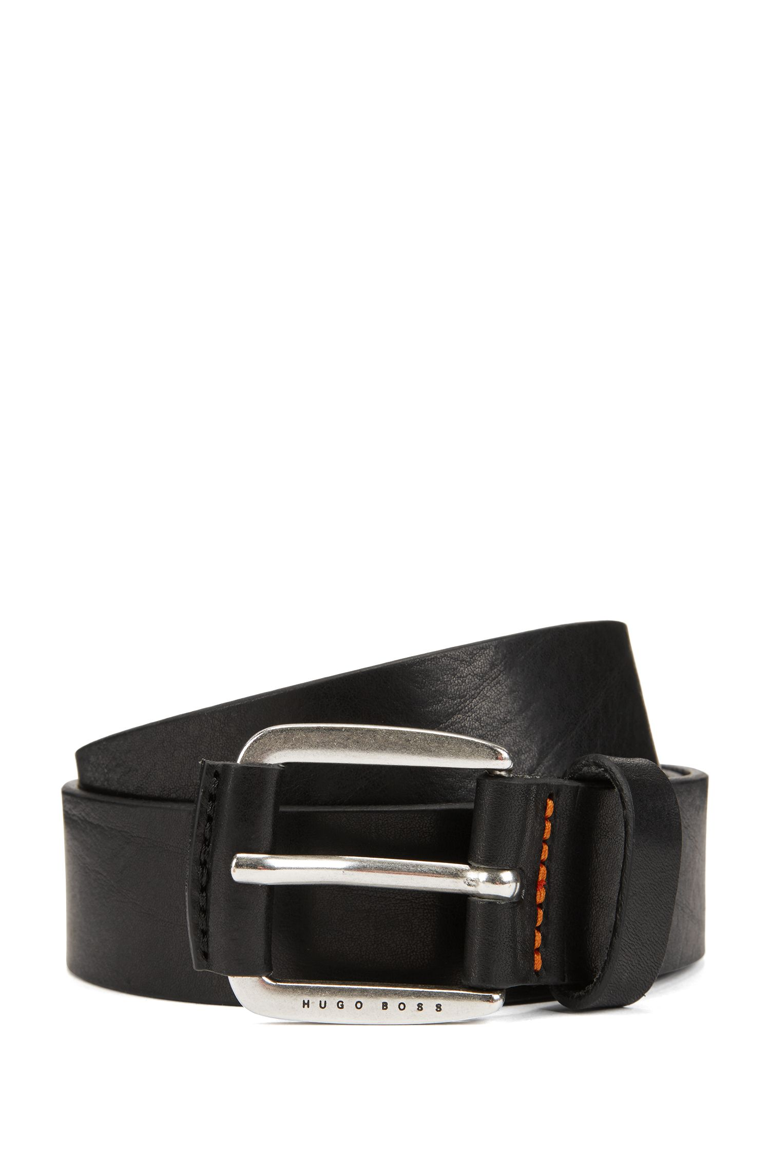 Smooth leather belt with leather-covered hardware, Black