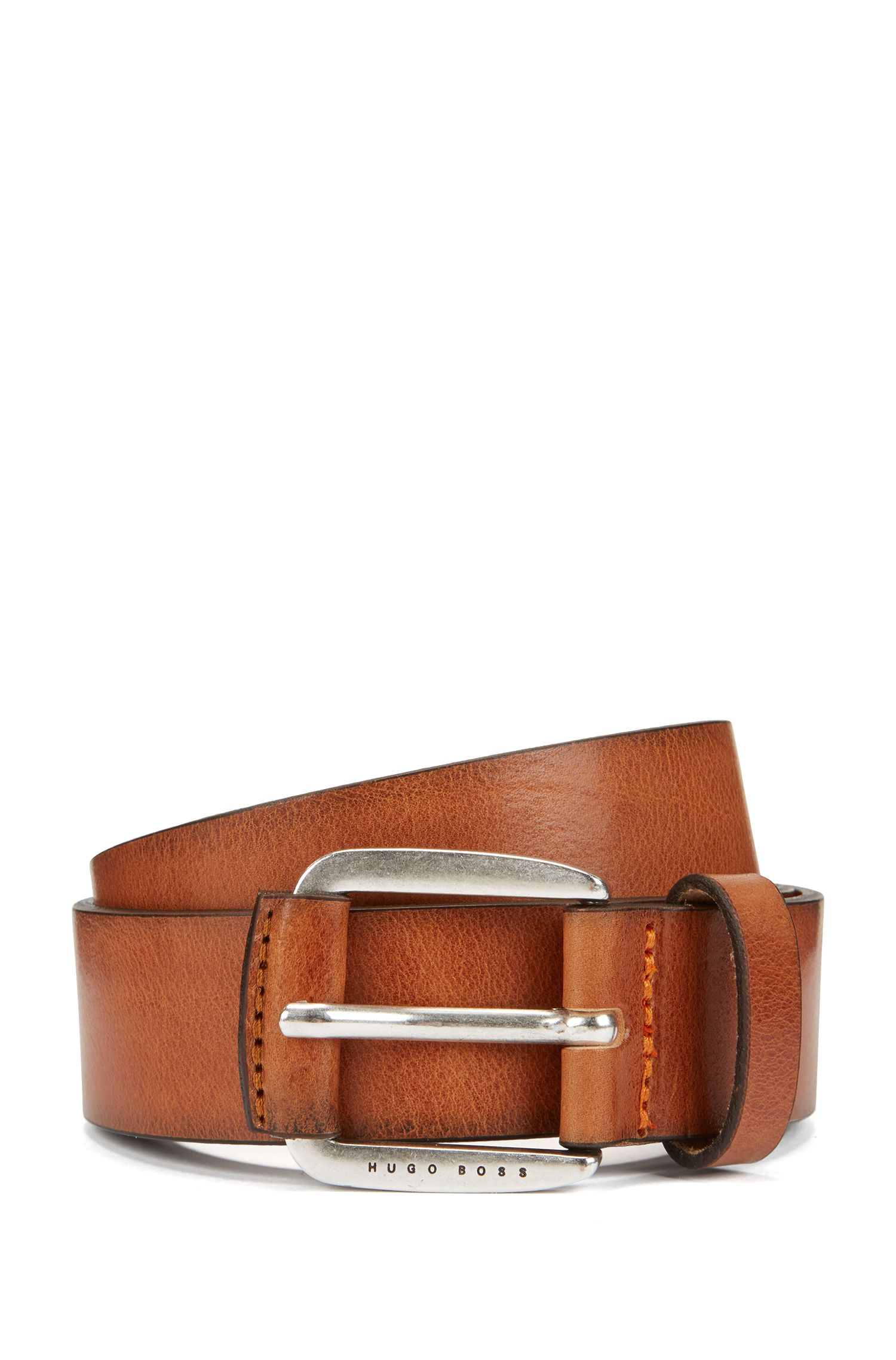 Smooth leather belt with leather-covered hardware, Brown