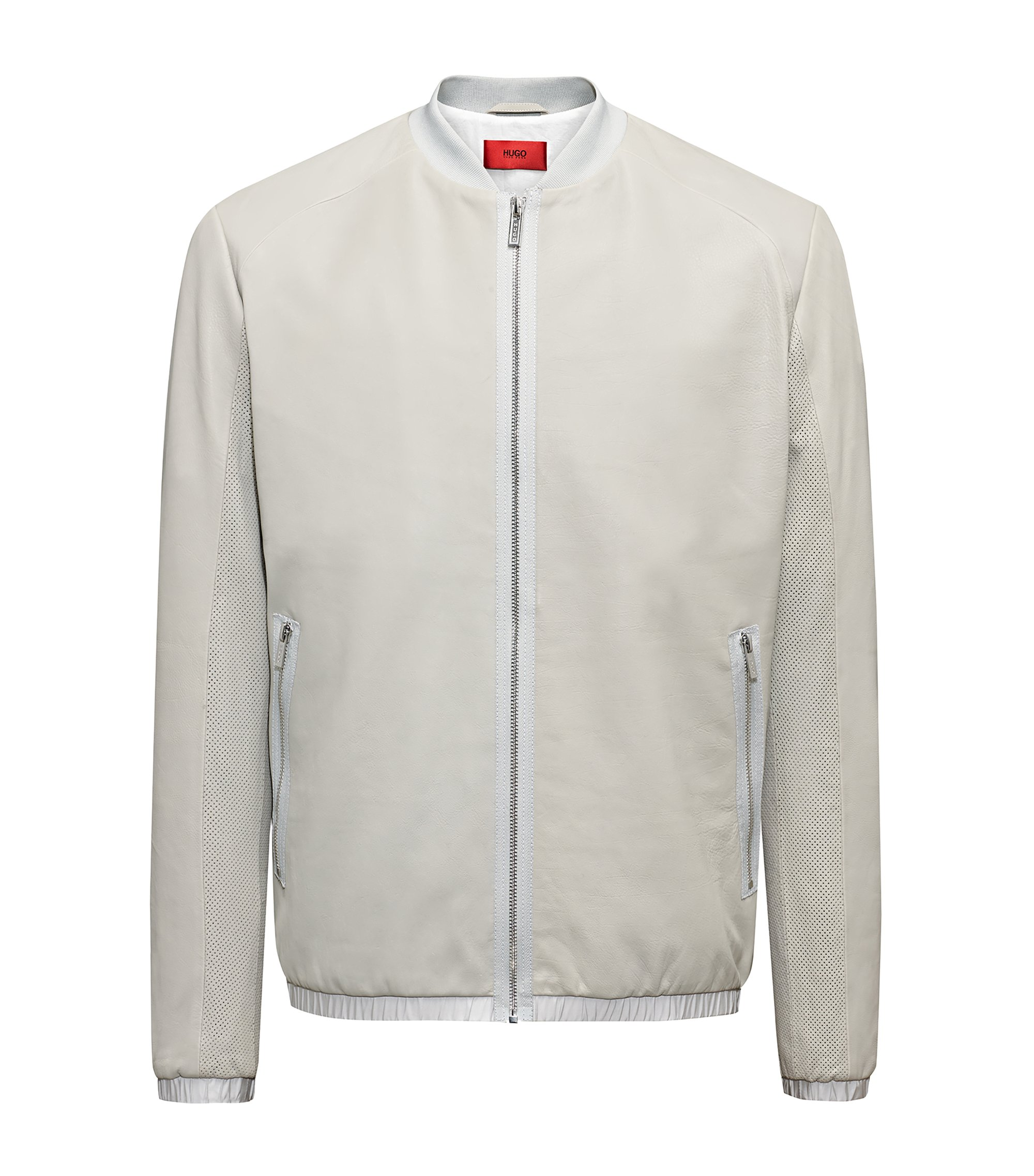 Bomber Regular Fit en cuir de veau, Gris