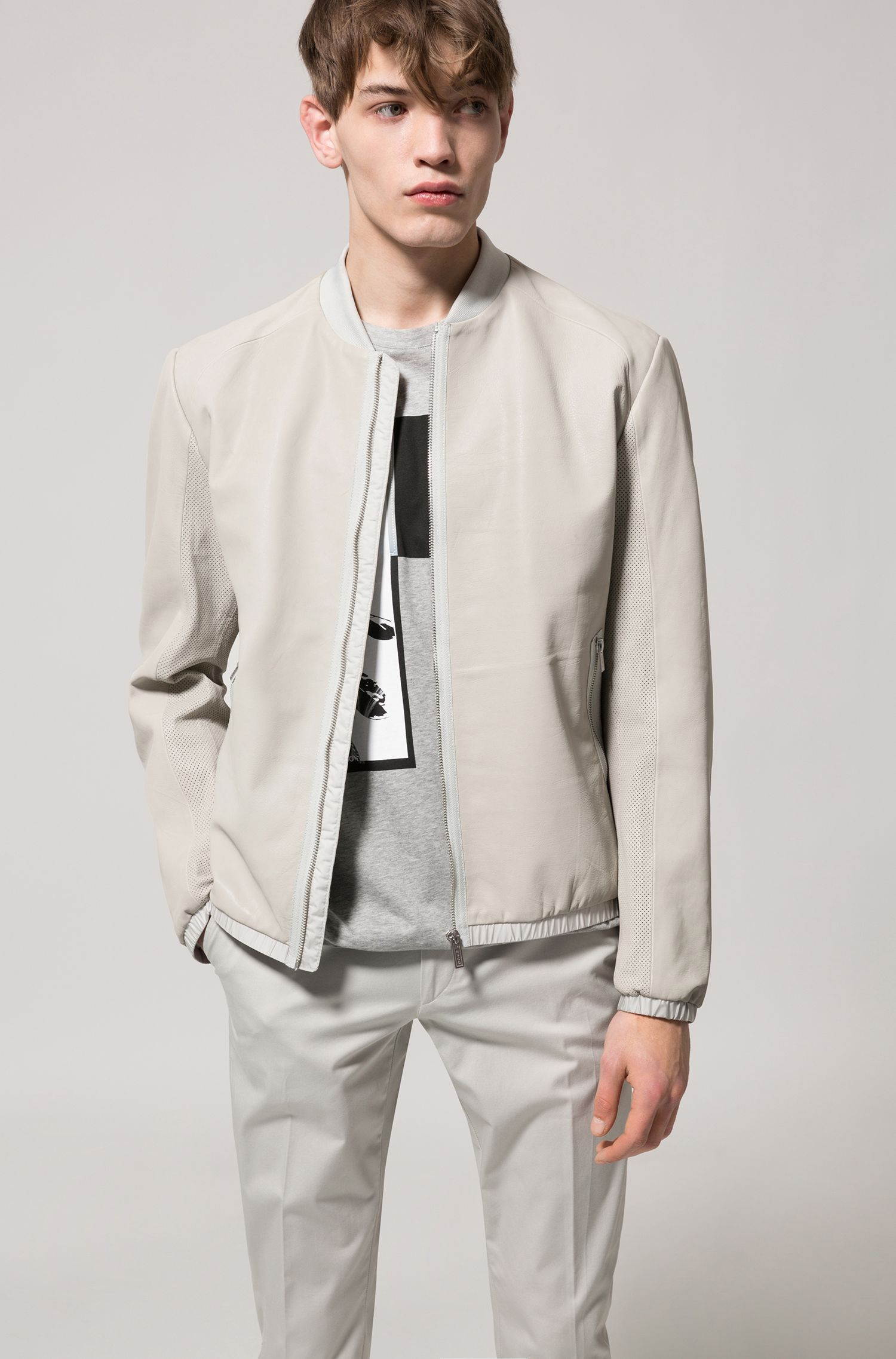 Regular-fit bomber jacket in calfskin, Grey