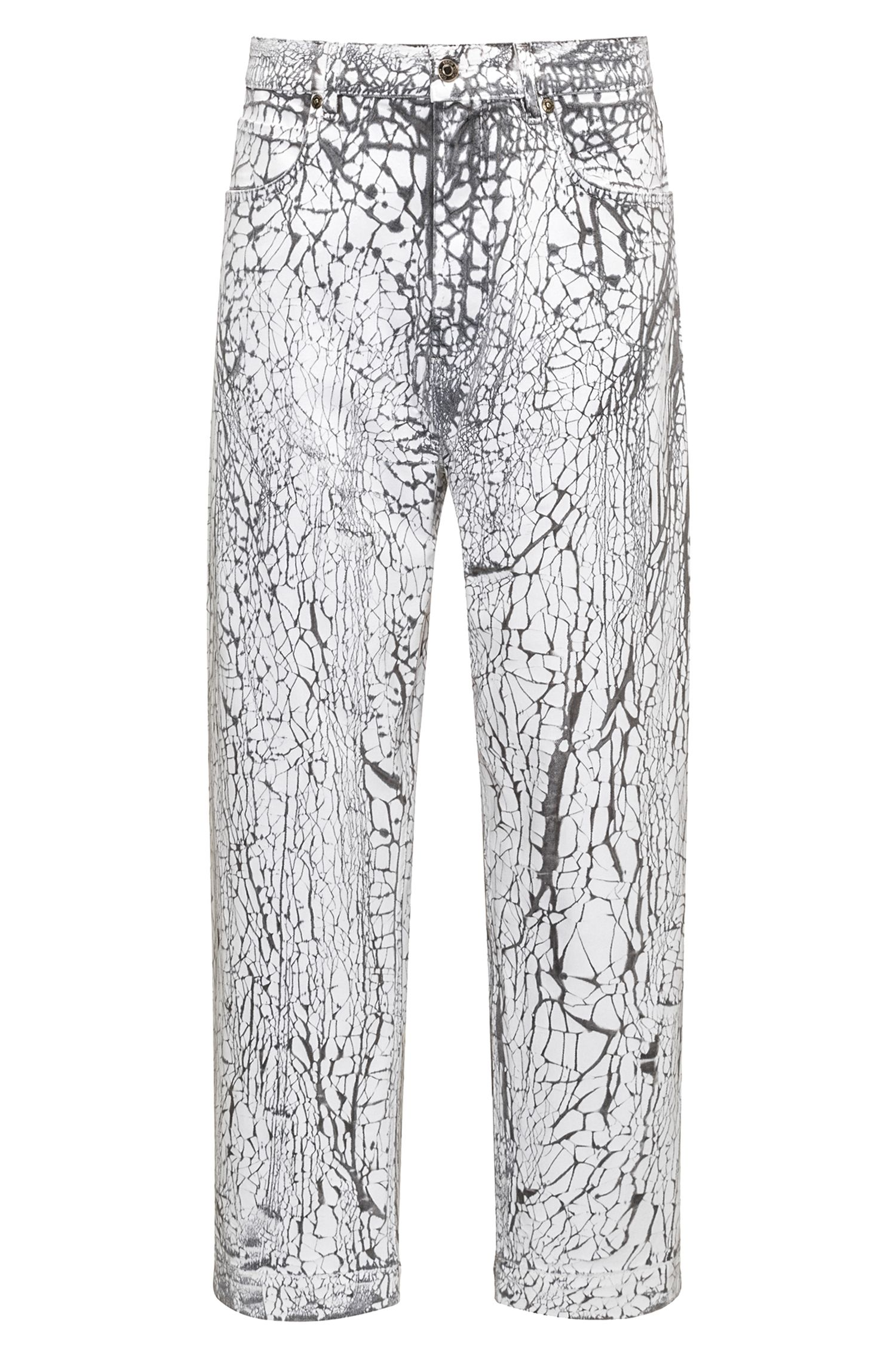 Oversize-fit stretch-denim jeans with cracked effect