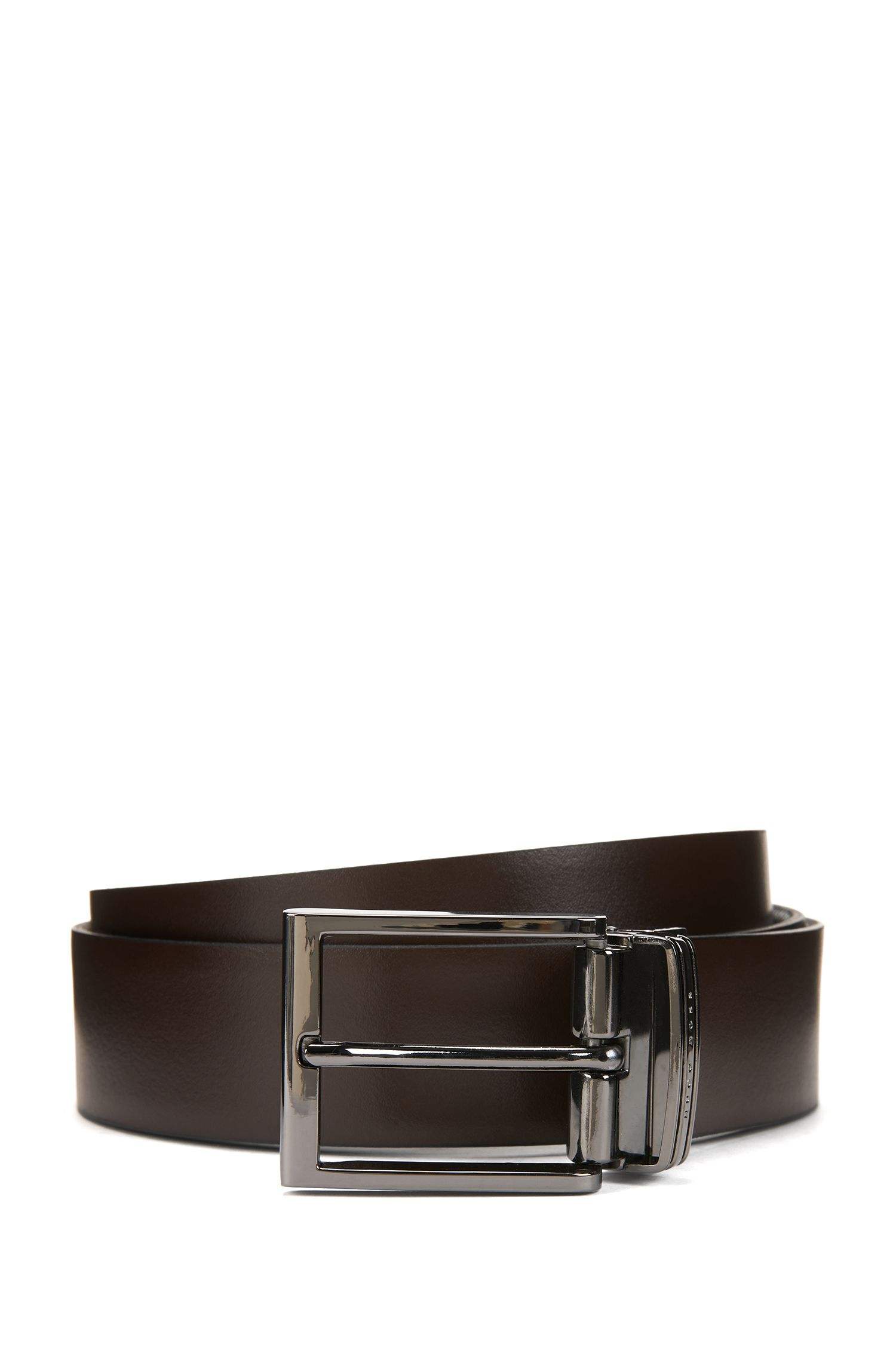 Reversible leather belt with double buckle , Black