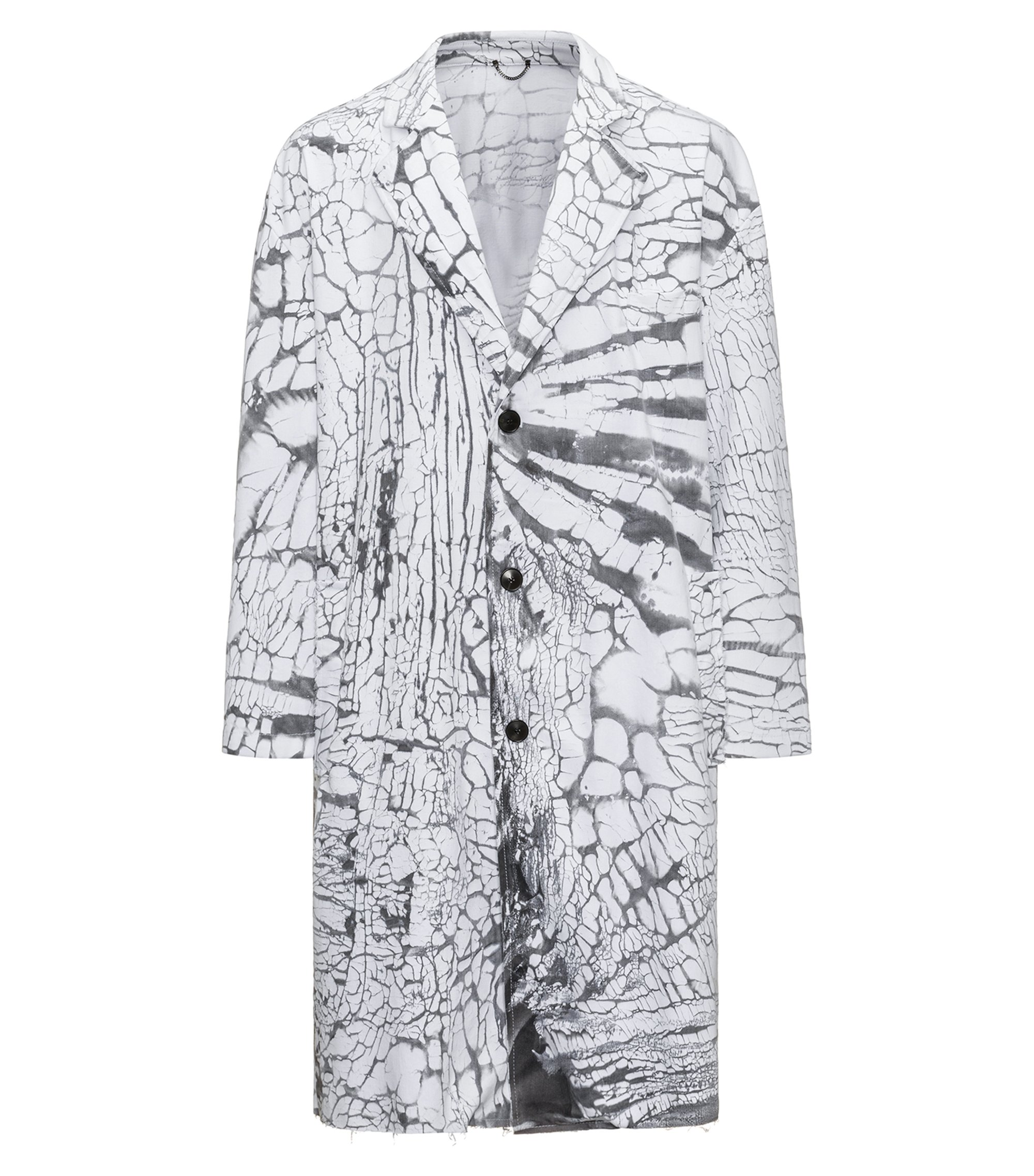 Stretch-cotton coat with printed cracked effect, Patterned