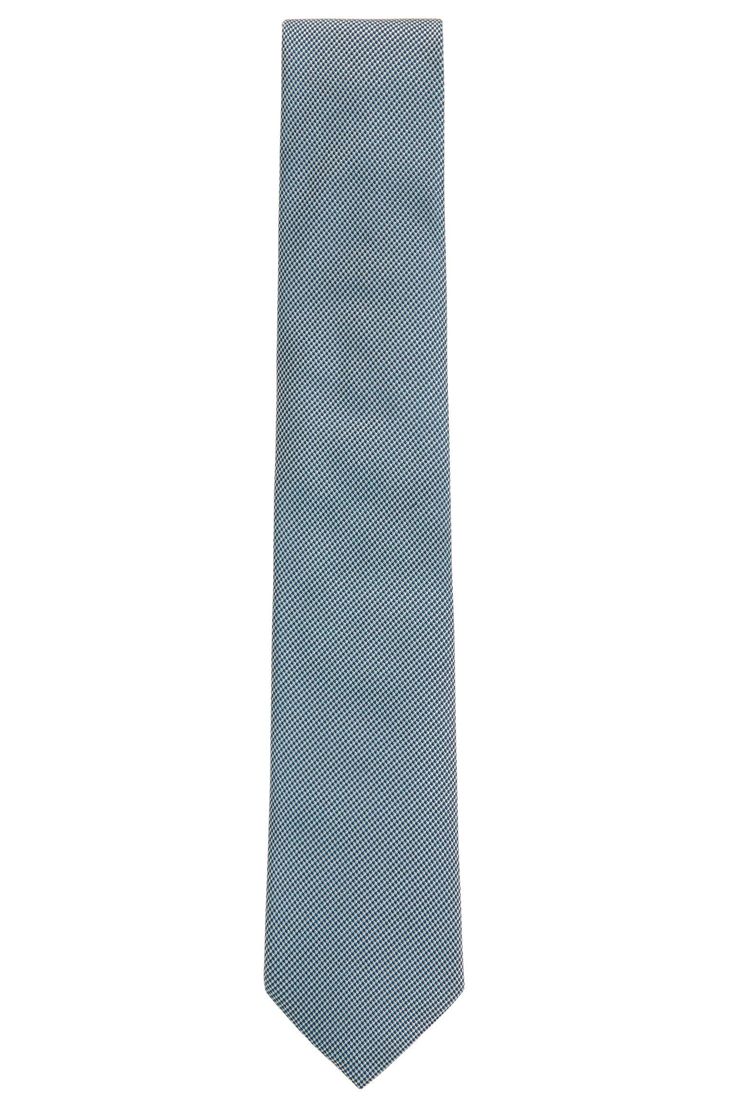 Cravatta a disegni realizzata in Italia in seta jacquard, Verde