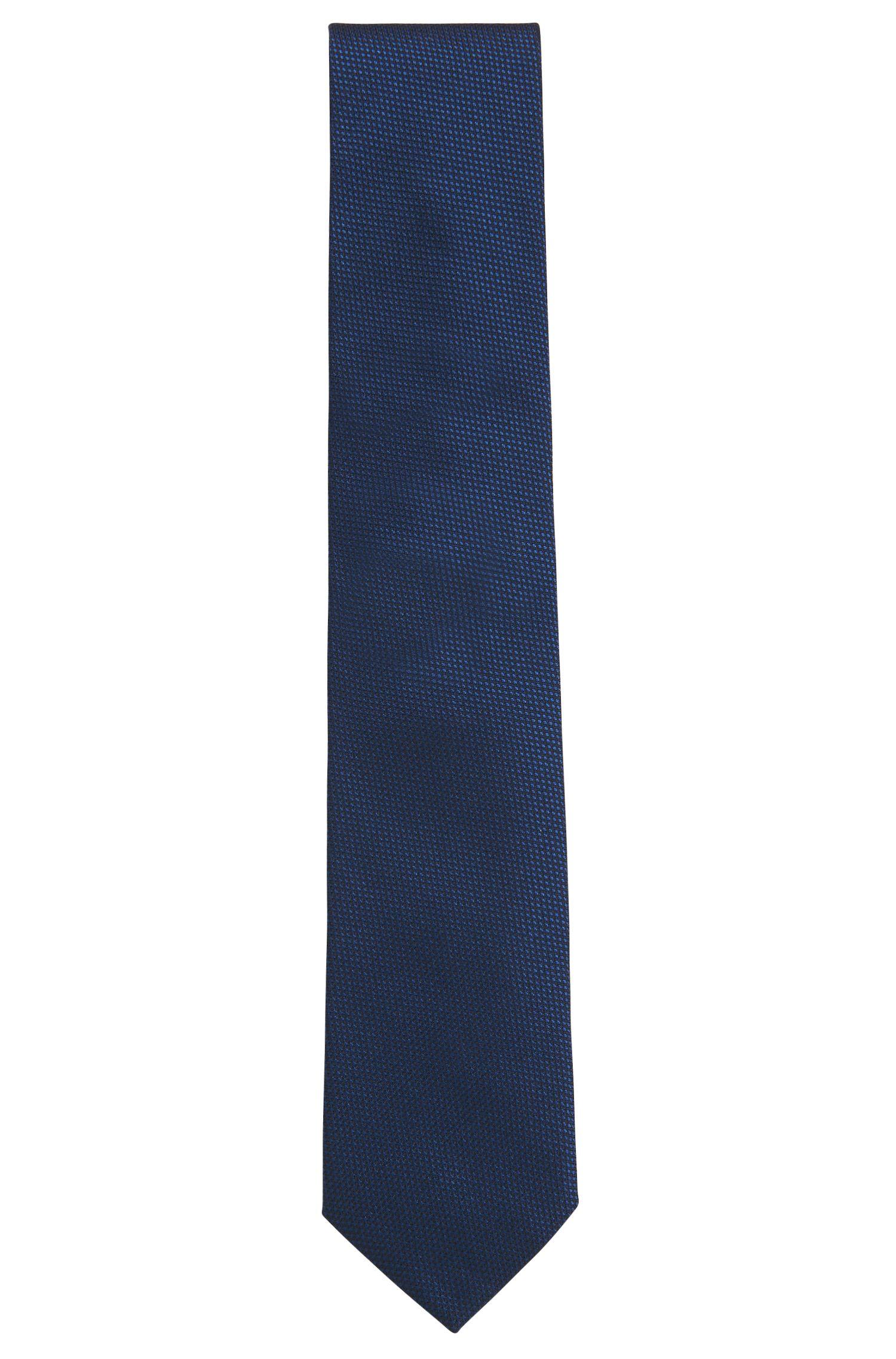 Corbata de fantasía confeccionada en Italia en jacquard de seda, Azul oscuro