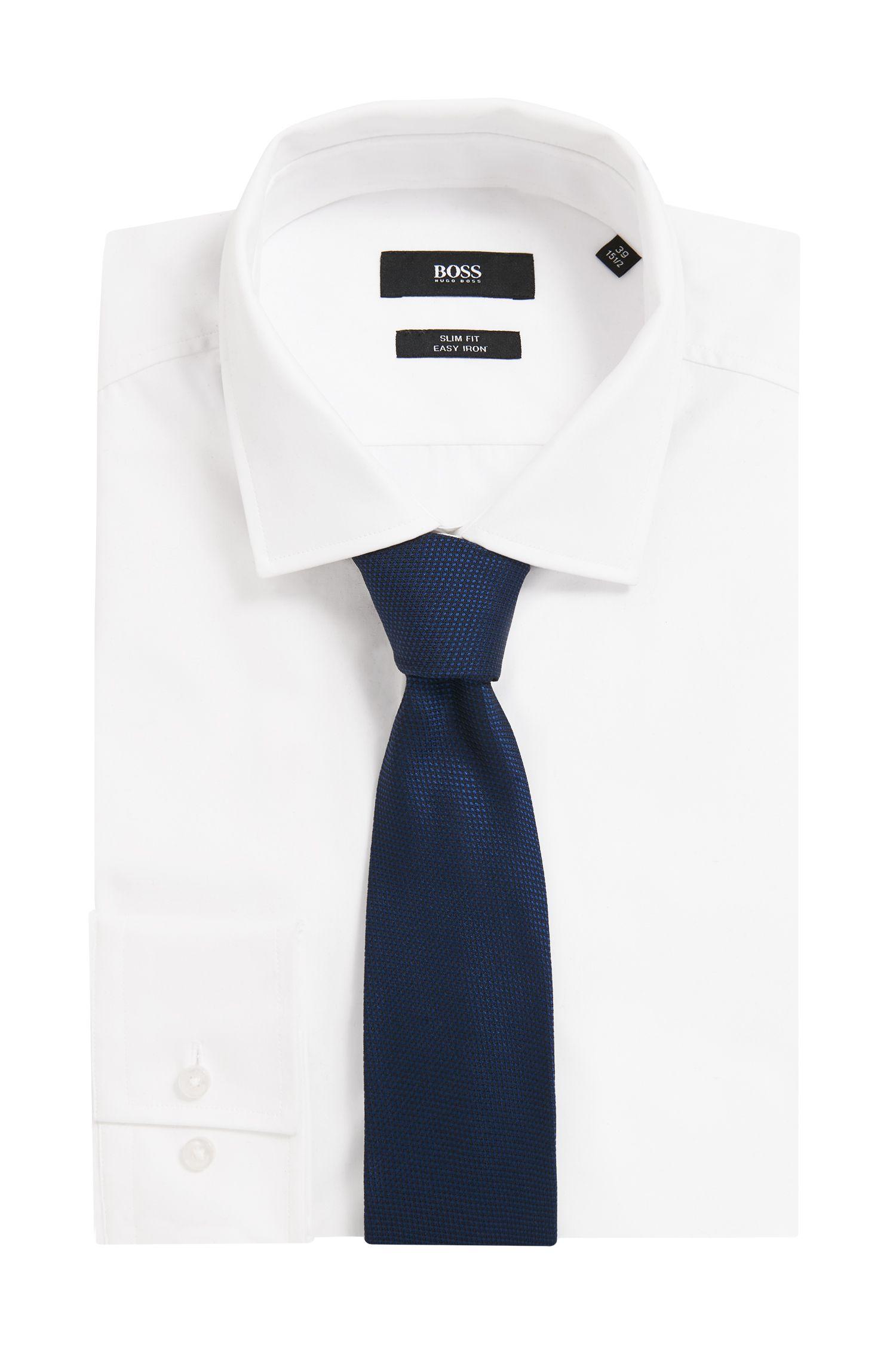 Cravate à motif en jacquard de soie confectionnée en Italie, Bleu foncé