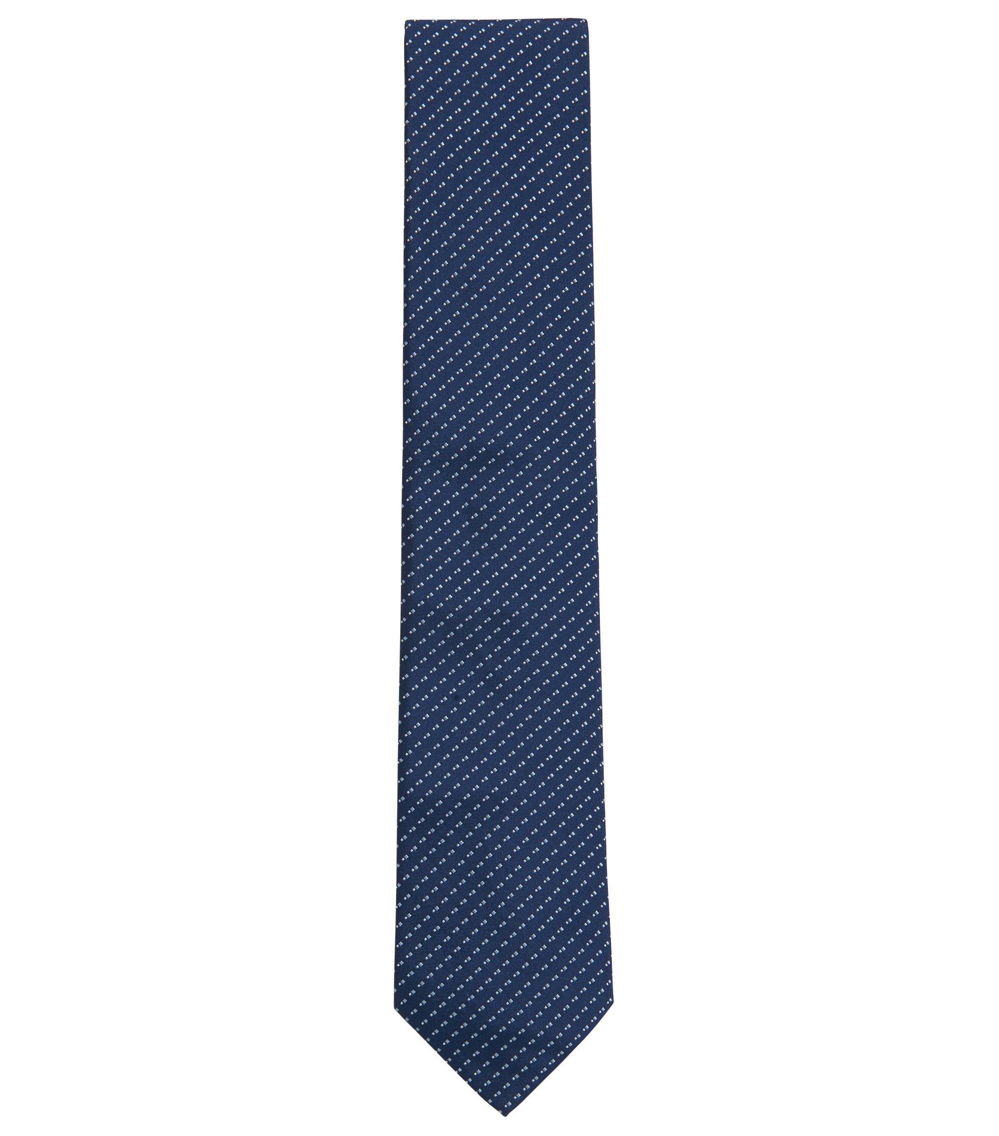 Italian-made patterned tie in silk jacquard, Open Blue