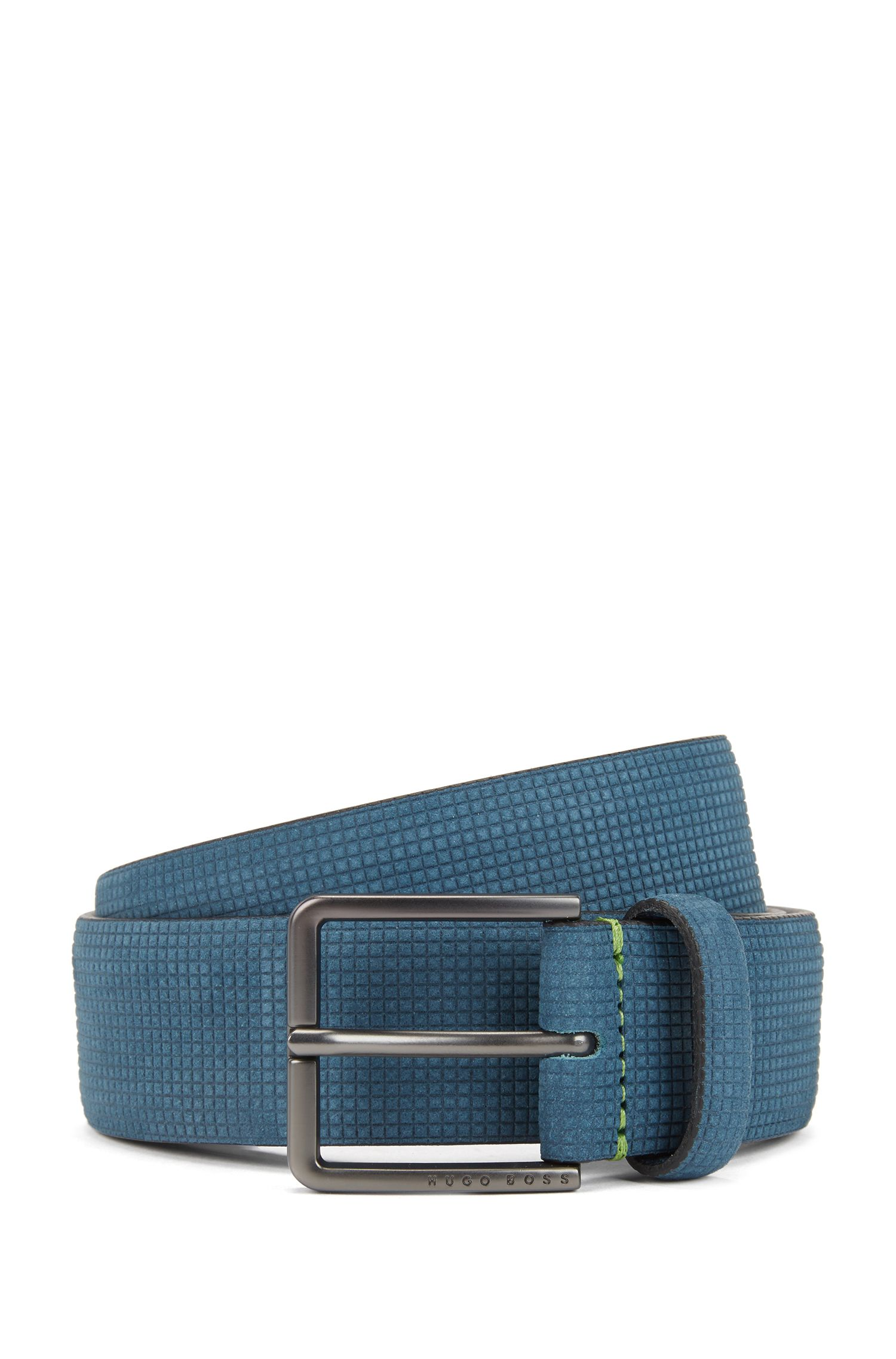 Nubuck-leather belt with embossed texture