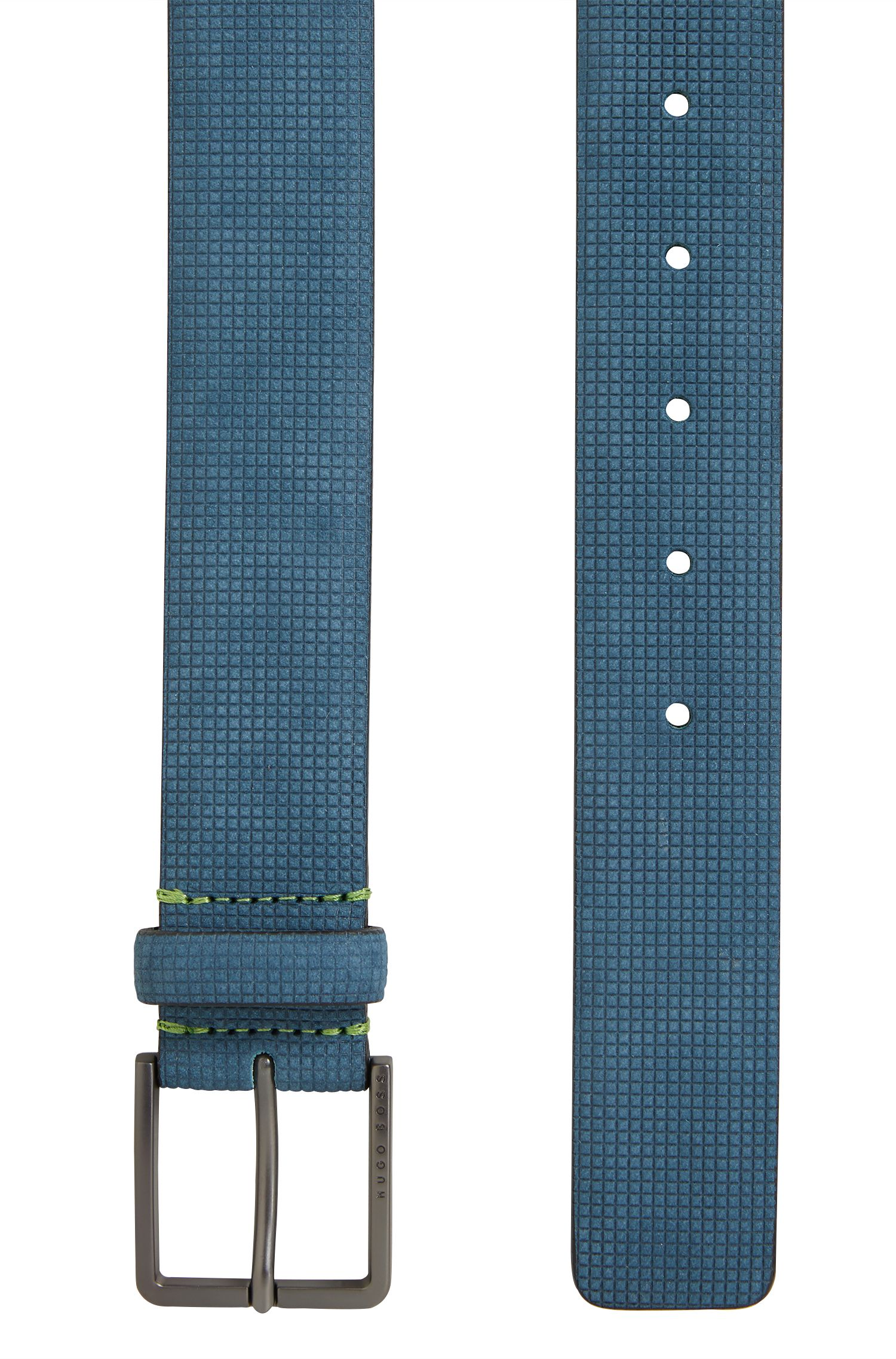 Nubukledergürtel mit Struktur-Prägung, Blau
