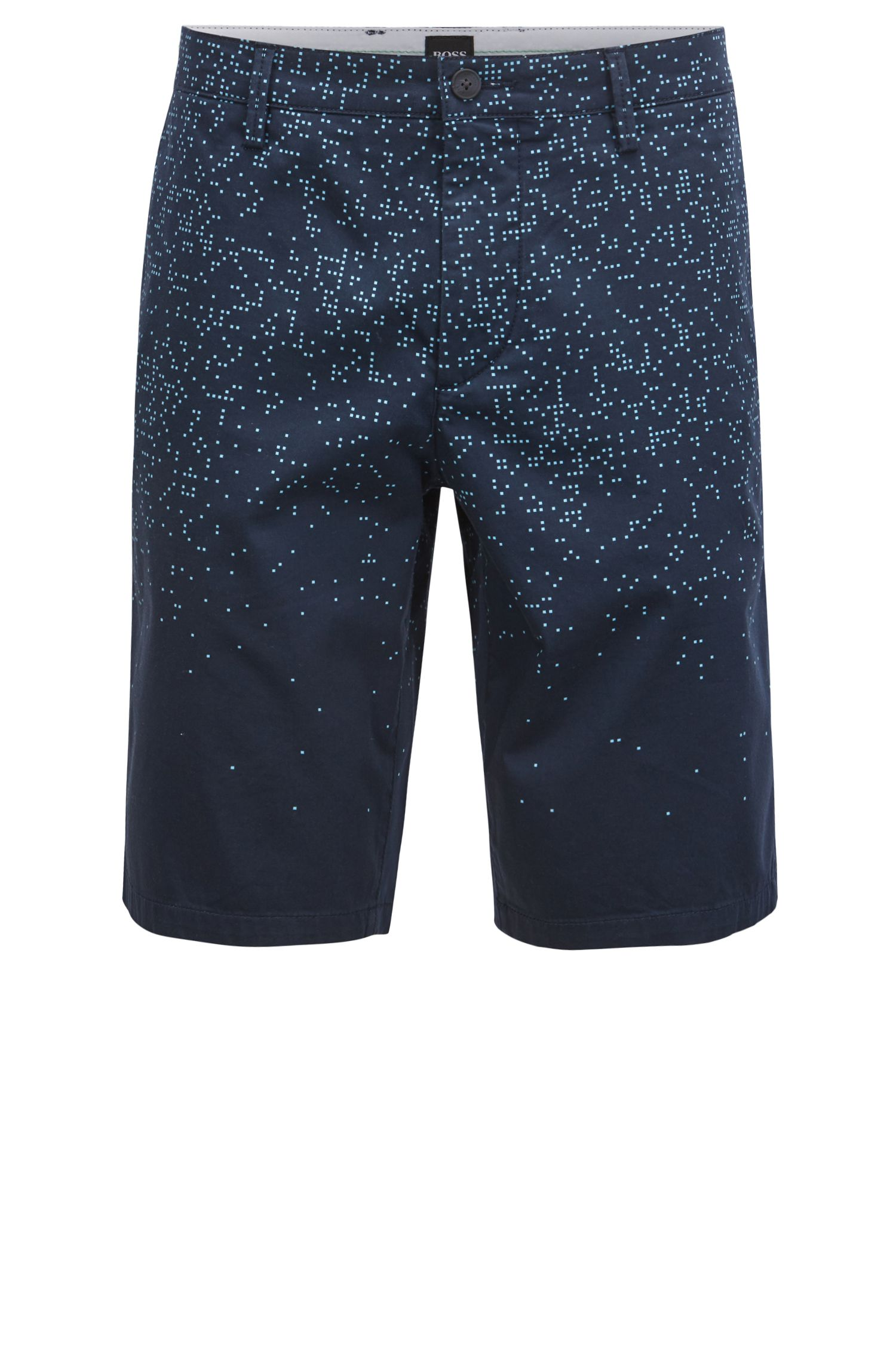 Slim-Fit Shorts aus Stretch-Baumwolle mit Digital-Print, Dunkelblau