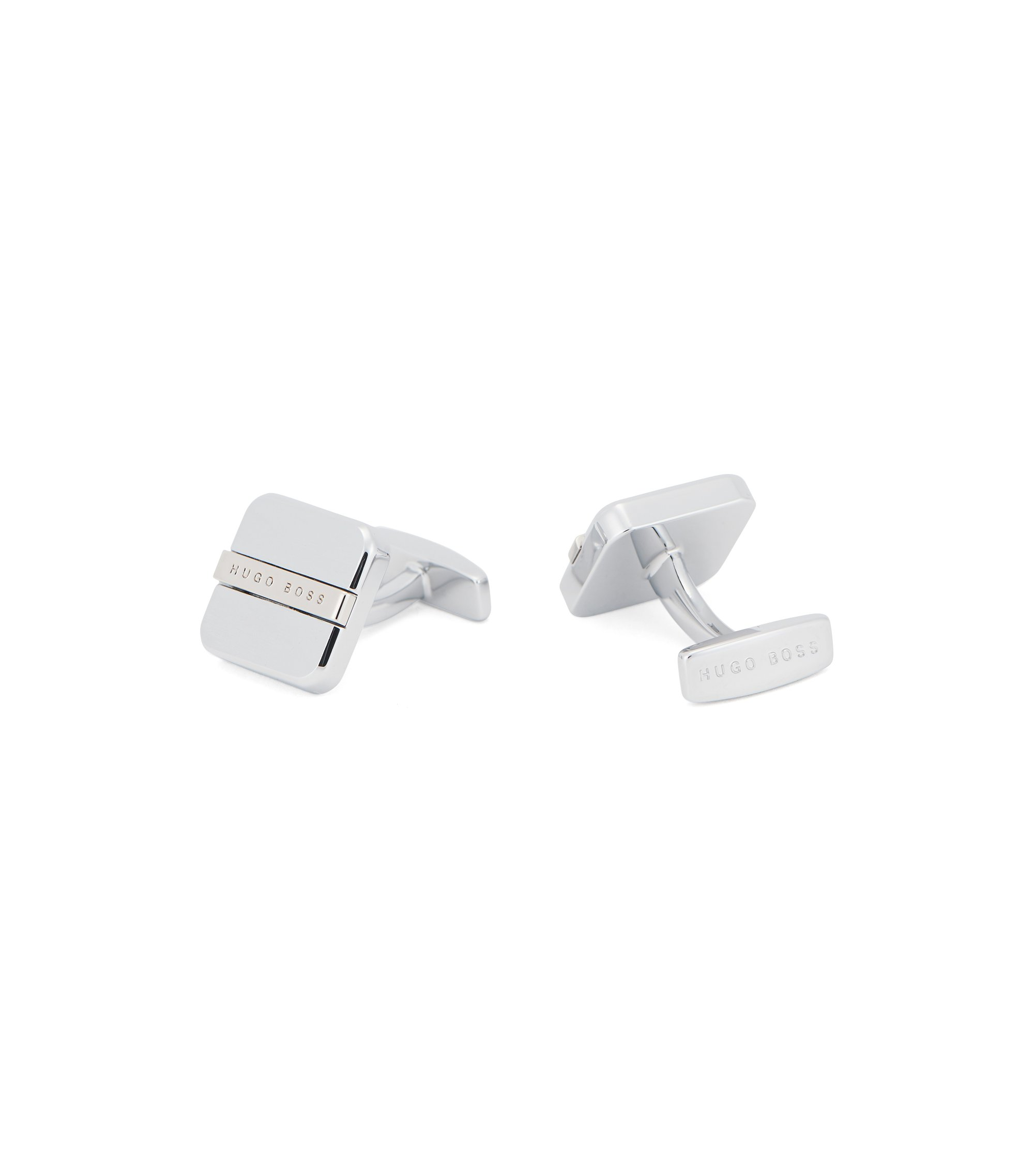 Square cufflinks with soft edges and engraved logo, Silver