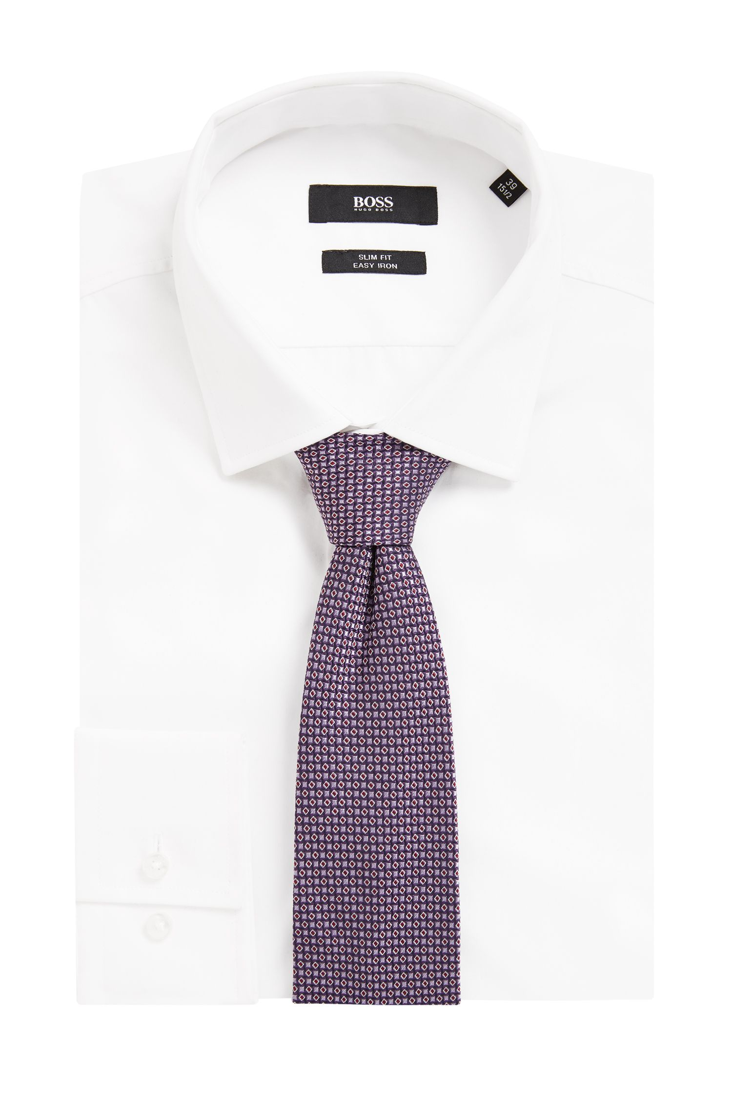Italian-made patterned tie in silk jacquard, Purple