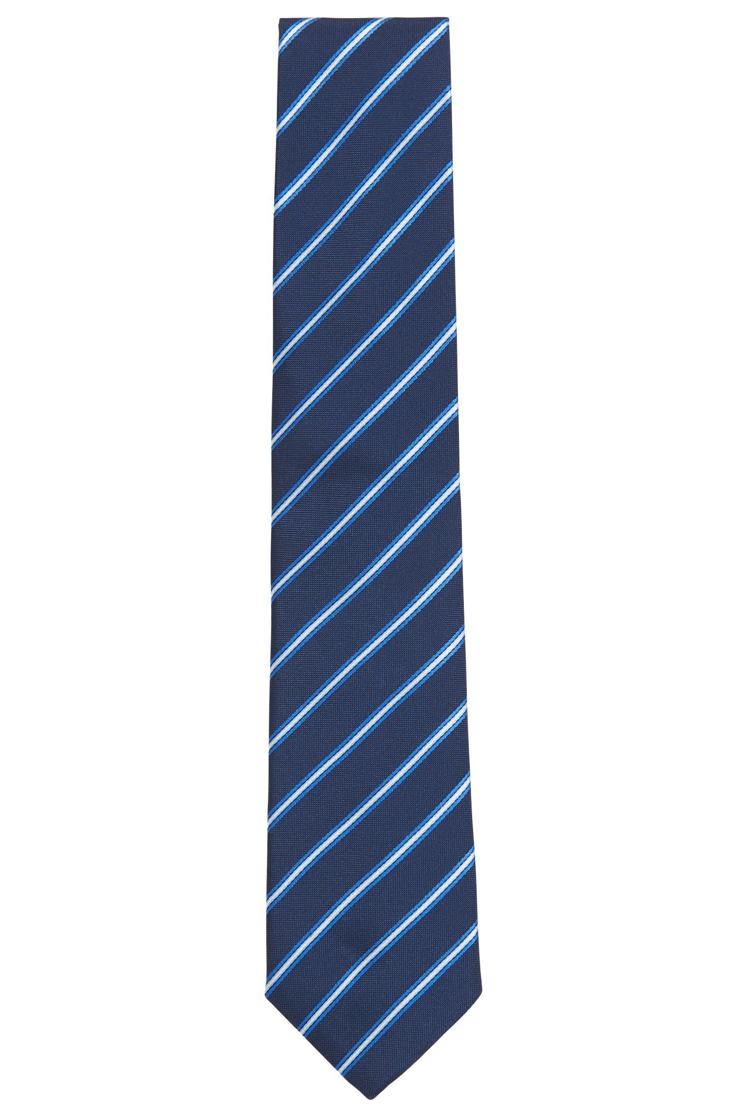 Corbata elaborada en Italia en jacquard de seda a rayas, Azul oscuro