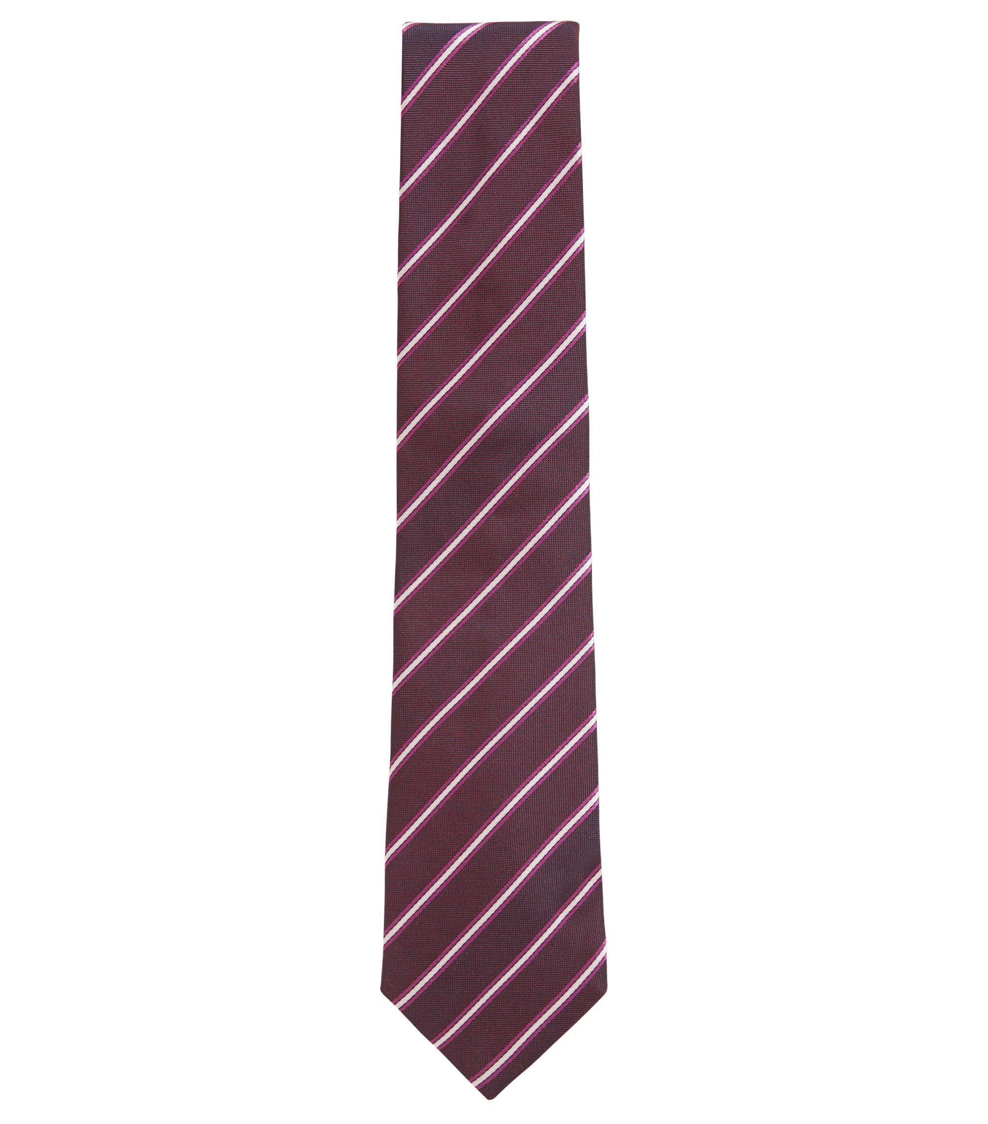 Striped Italian-made silk-jacquard tie, Red
