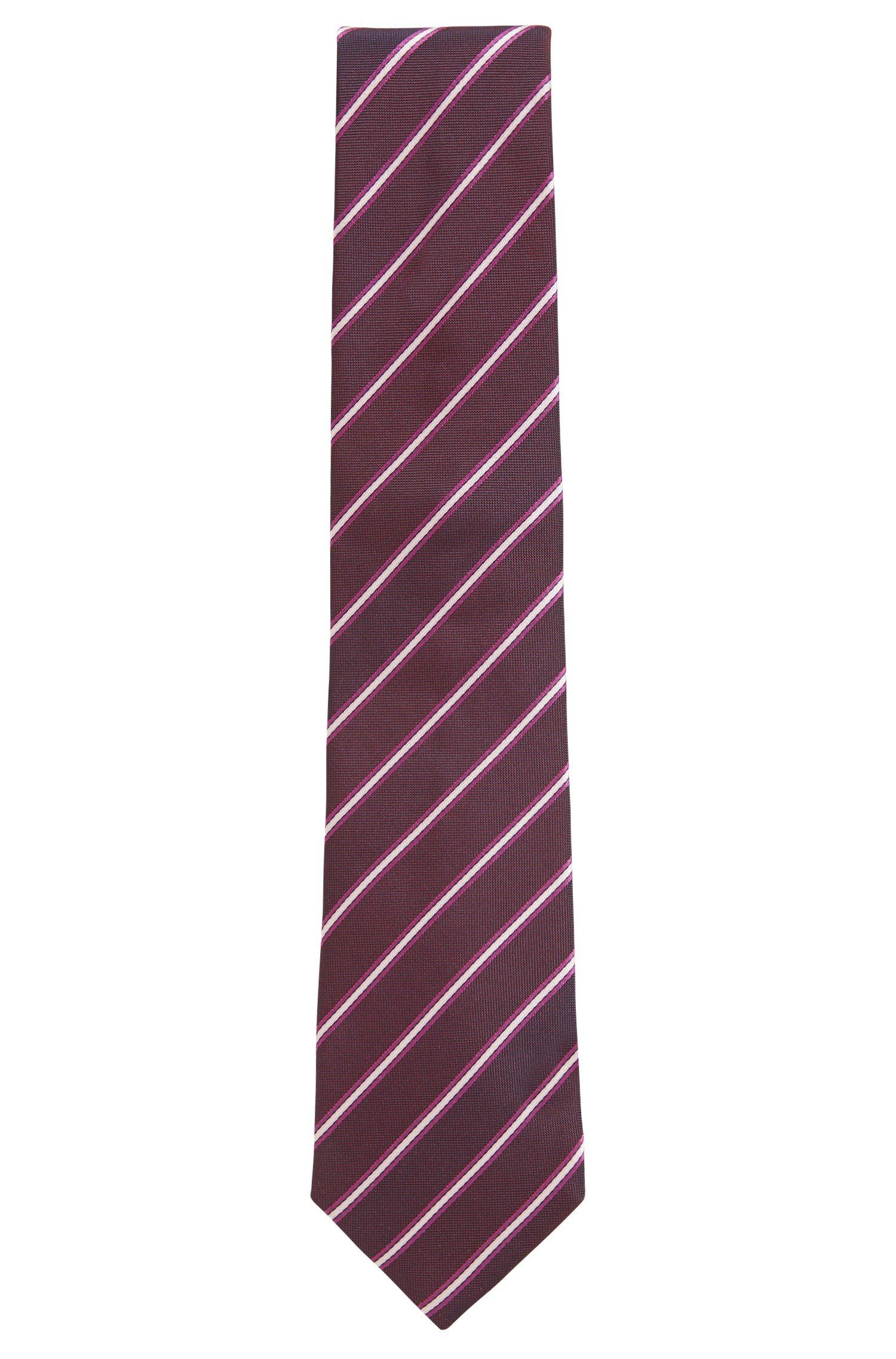 Cravate en jacquard de soie à rayures confectionnée en Italie, Rouge