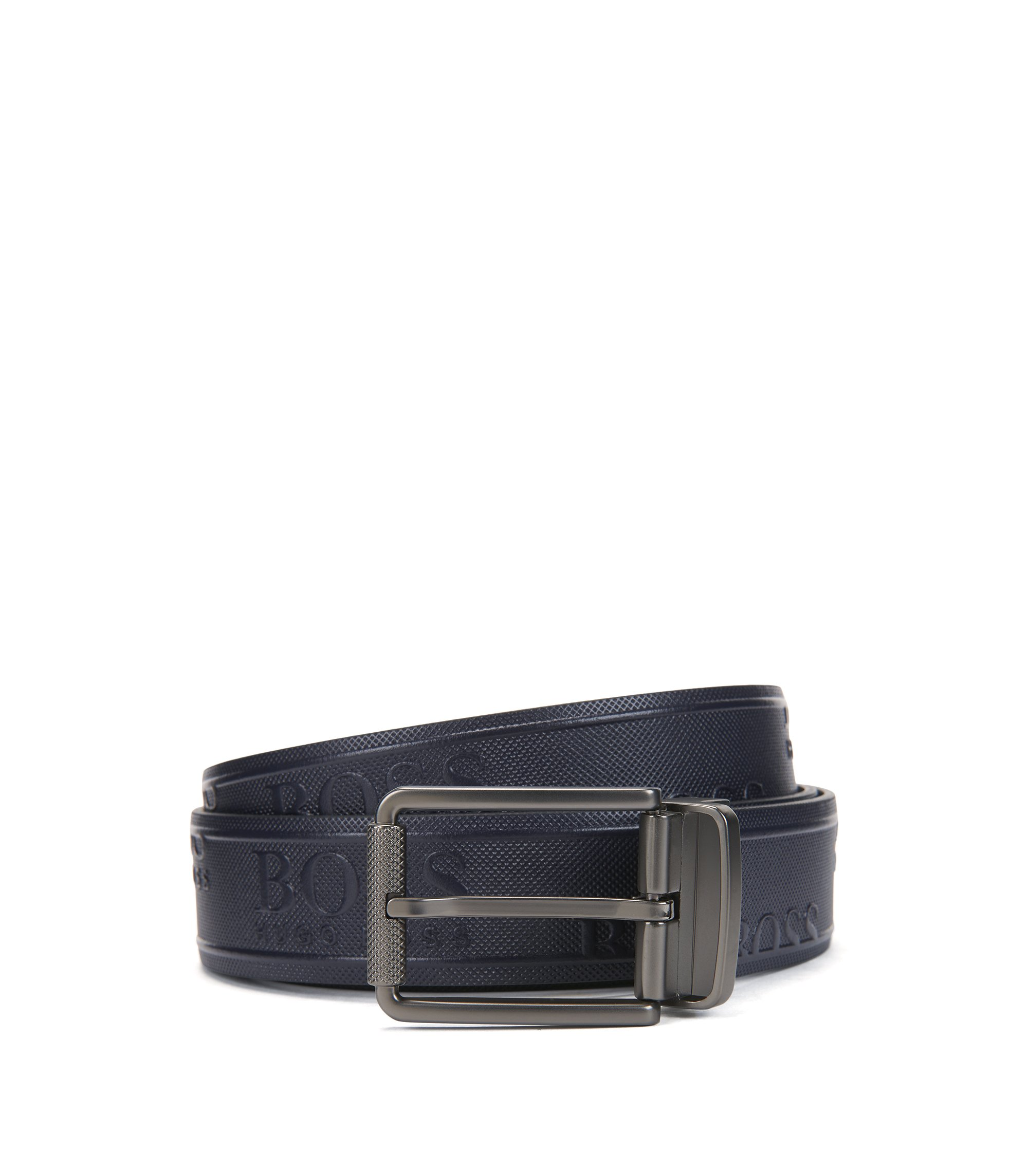 Reversible leather belt with logo and geometric embossing, Dark Blue