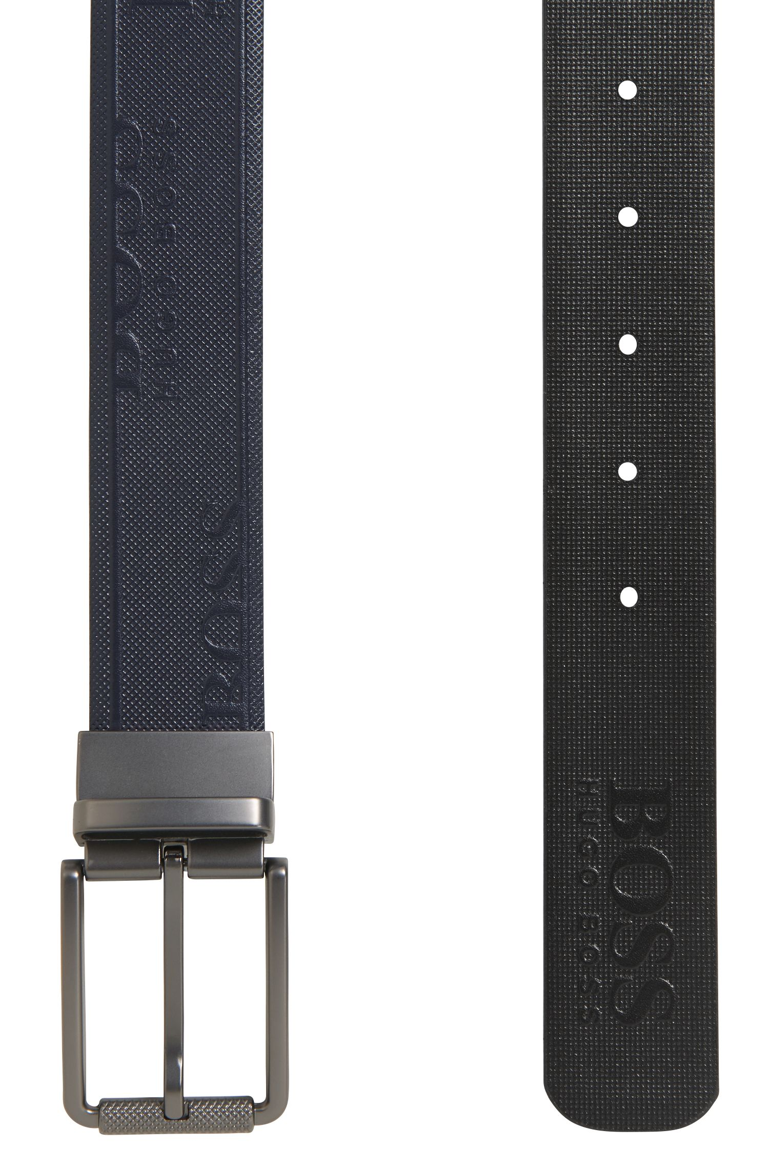 Reversible leather belt with logo and geometric embossing