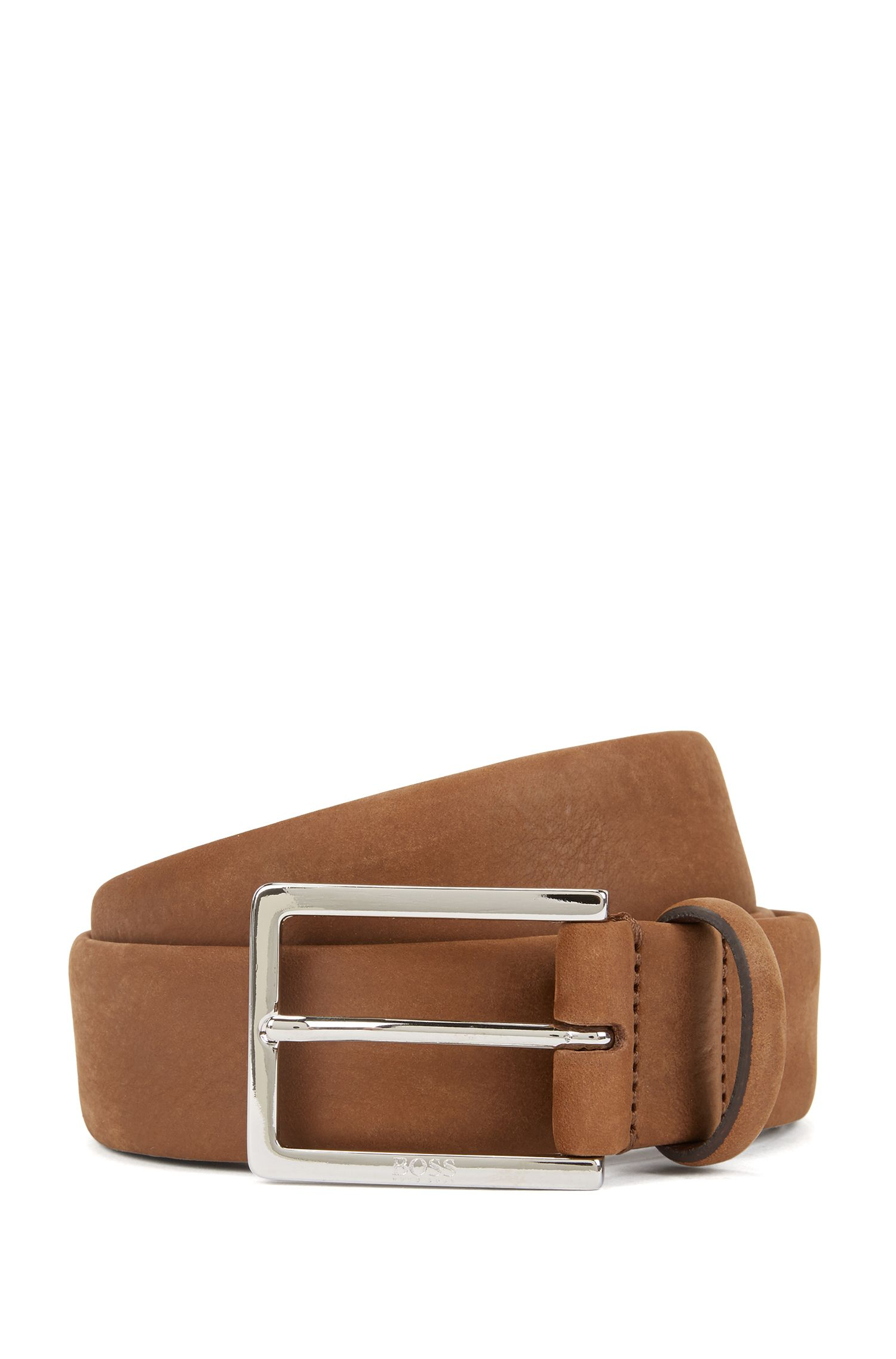 Nubuck leather belt with soft tubular construction