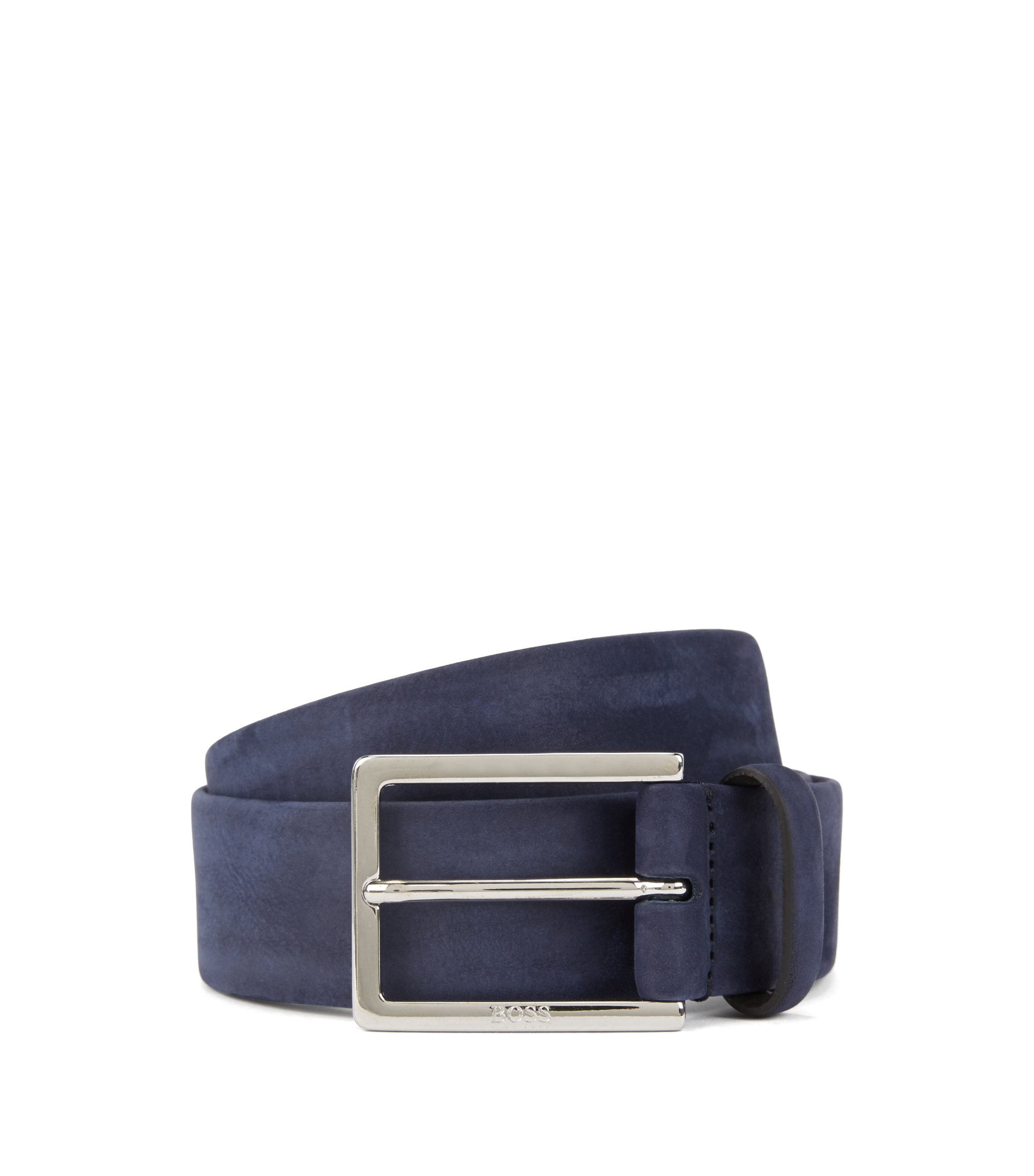 Nubuck leather belt with soft tubular construction, Dark Blue