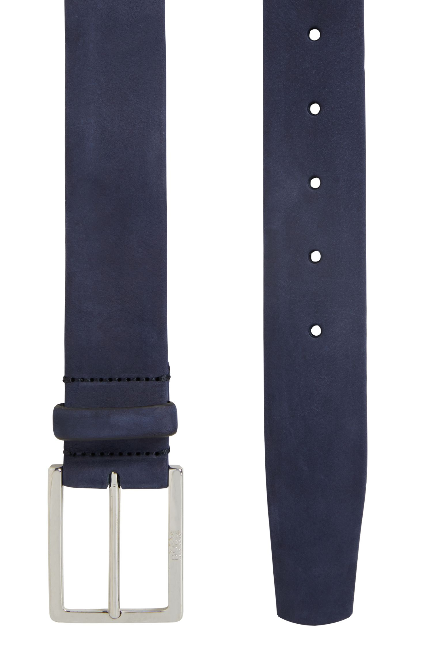 Nubuck leather belt with soft tubular construction, Dark Blue