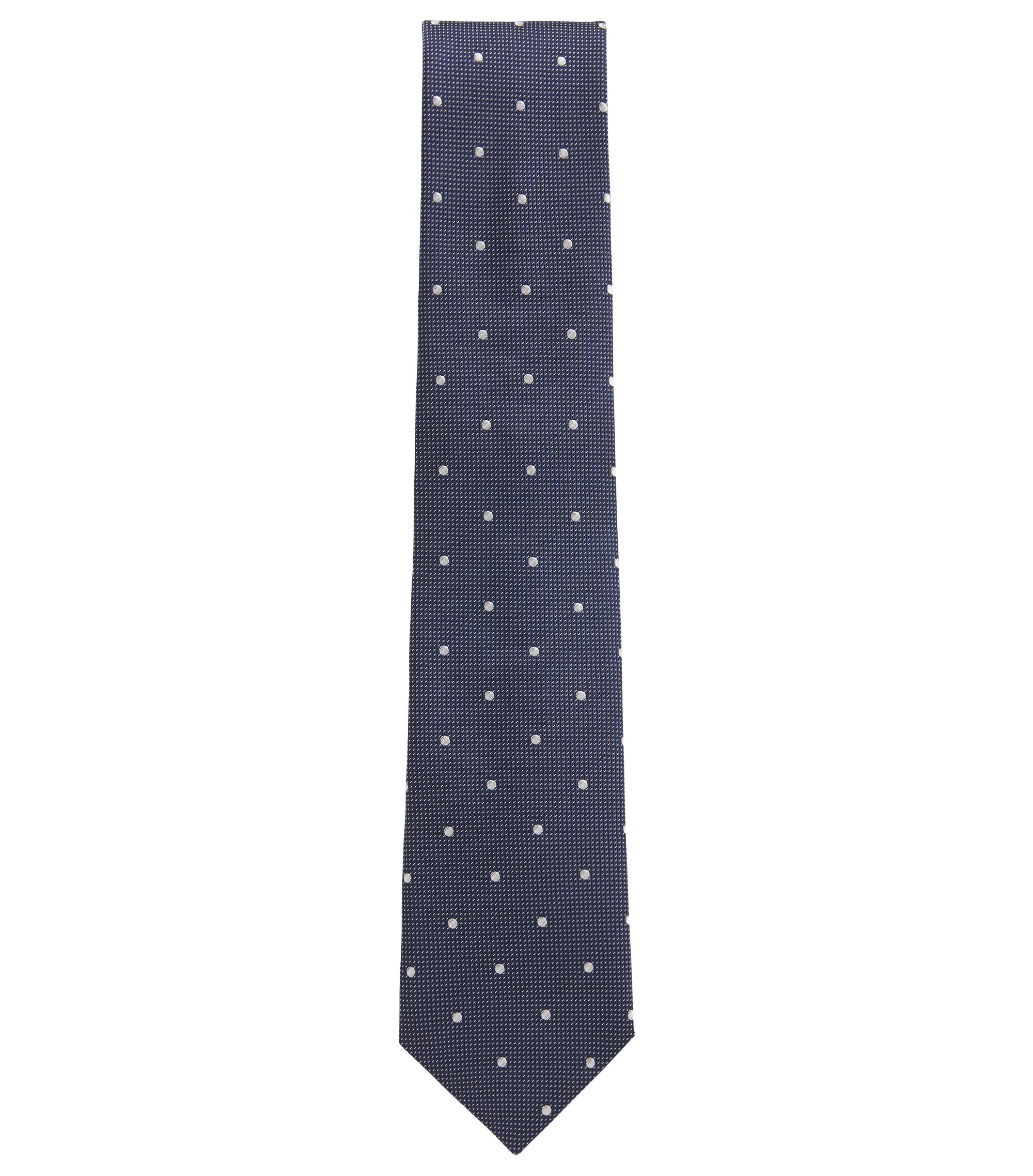 Italian-made patterned tie in silk jacquard, White