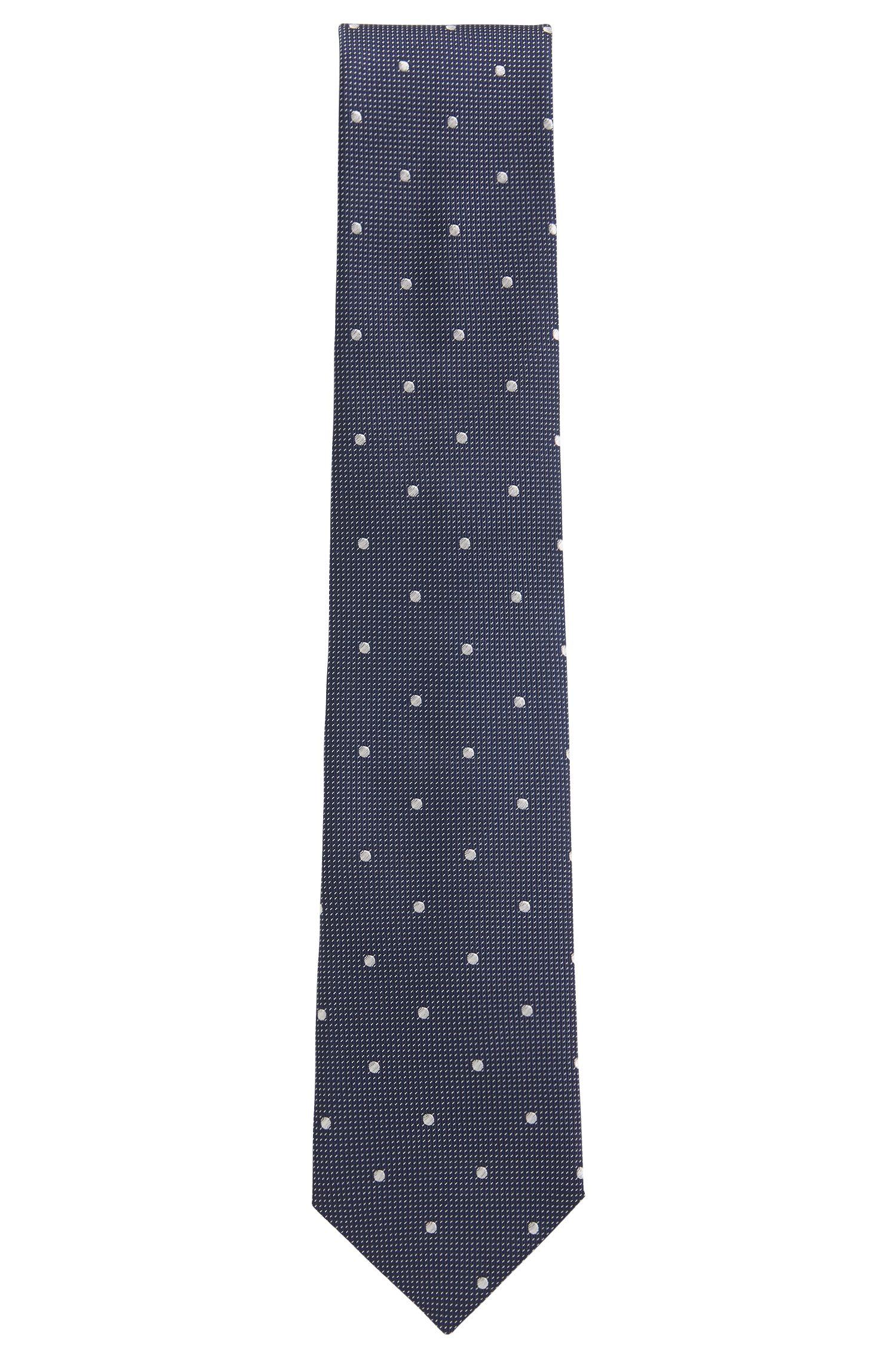 In Italië vervaardigde stropdas in een jacquard van zijde met dessin, Wit