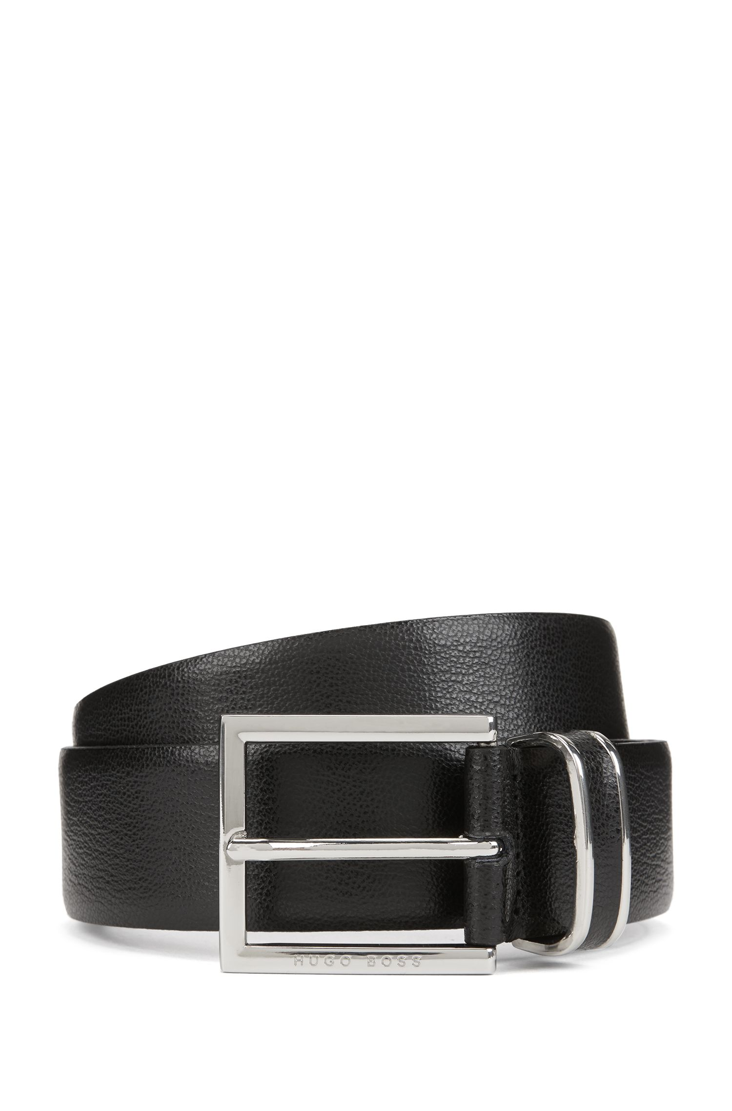 Embossed-leather belt with polished-silver hardware, Black