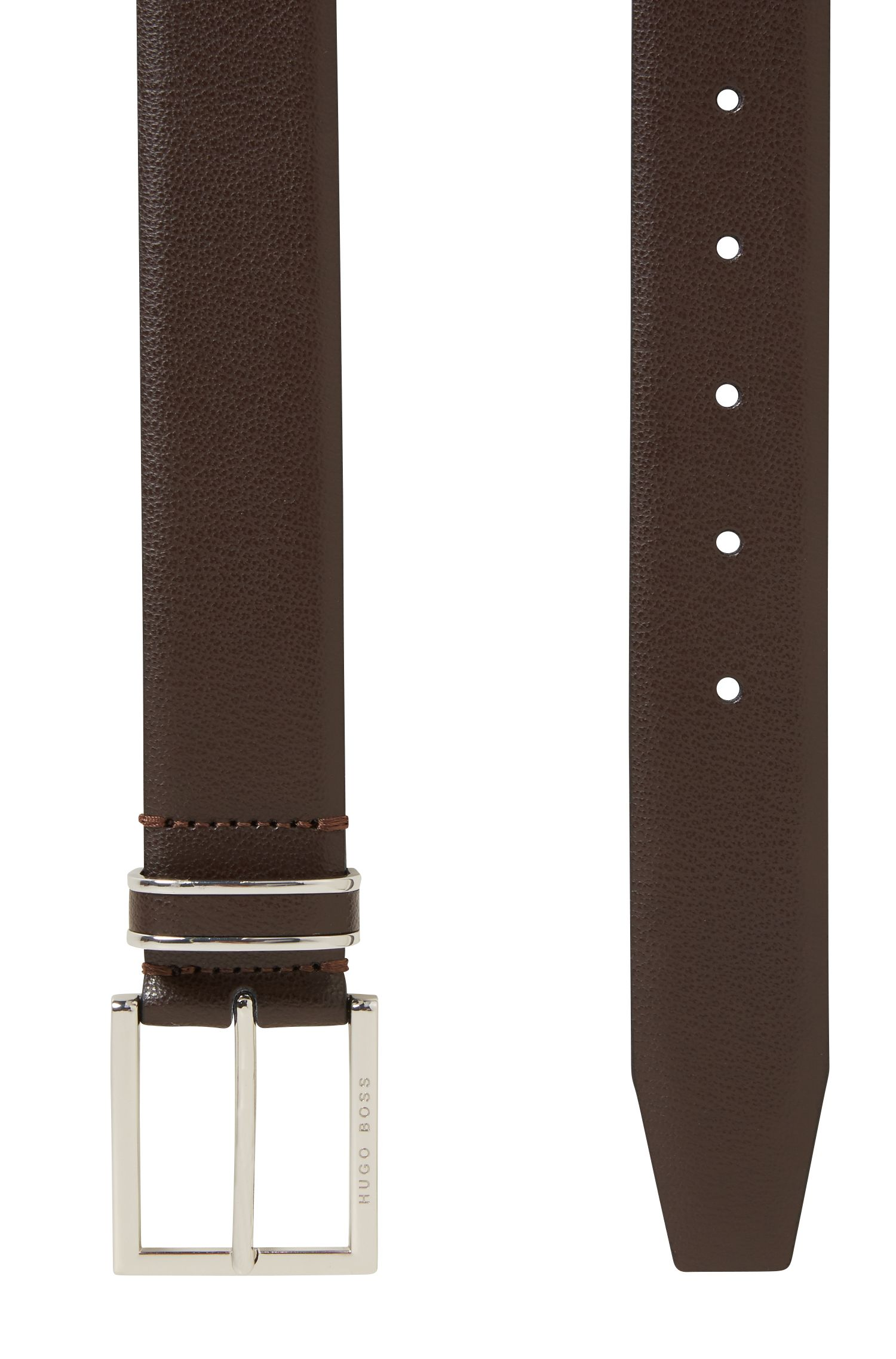 Embossed-leather belt with polished-silver hardware, Dark Brown