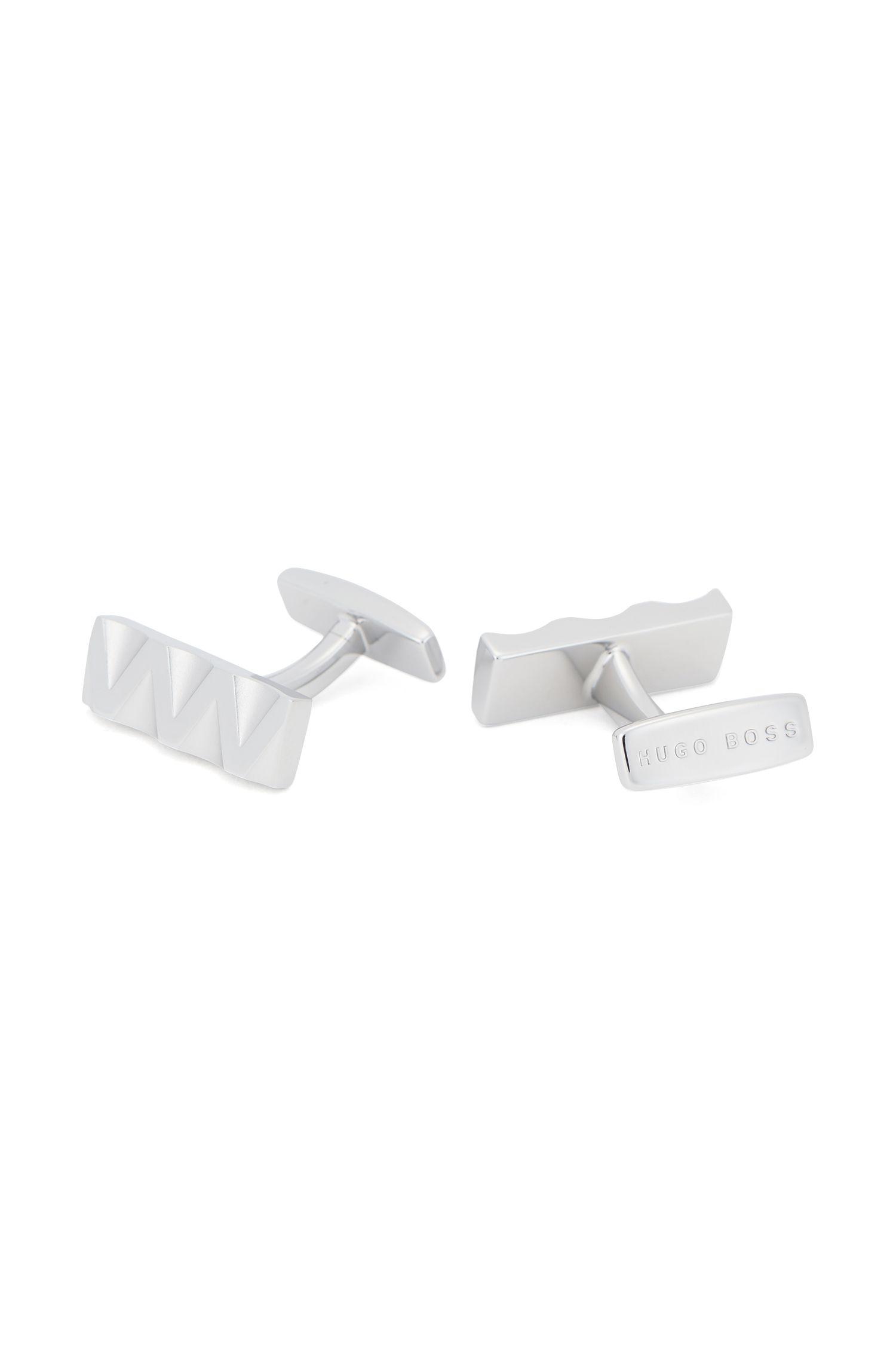 Manchetknopen van messing met driedimensionaal zigzagontwerp, Zilver