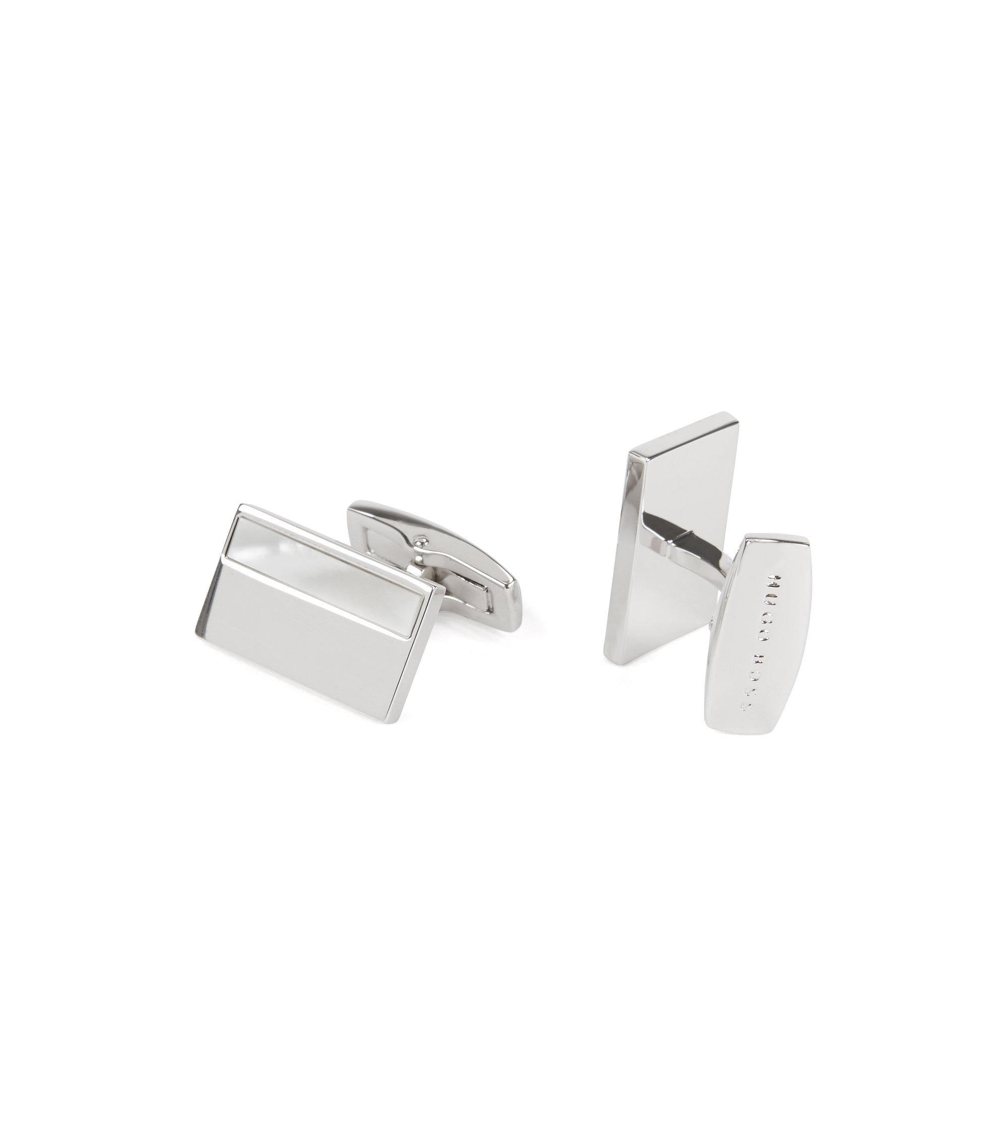 Hand-polished cufflinks with mother-of-pearl inlay, White
