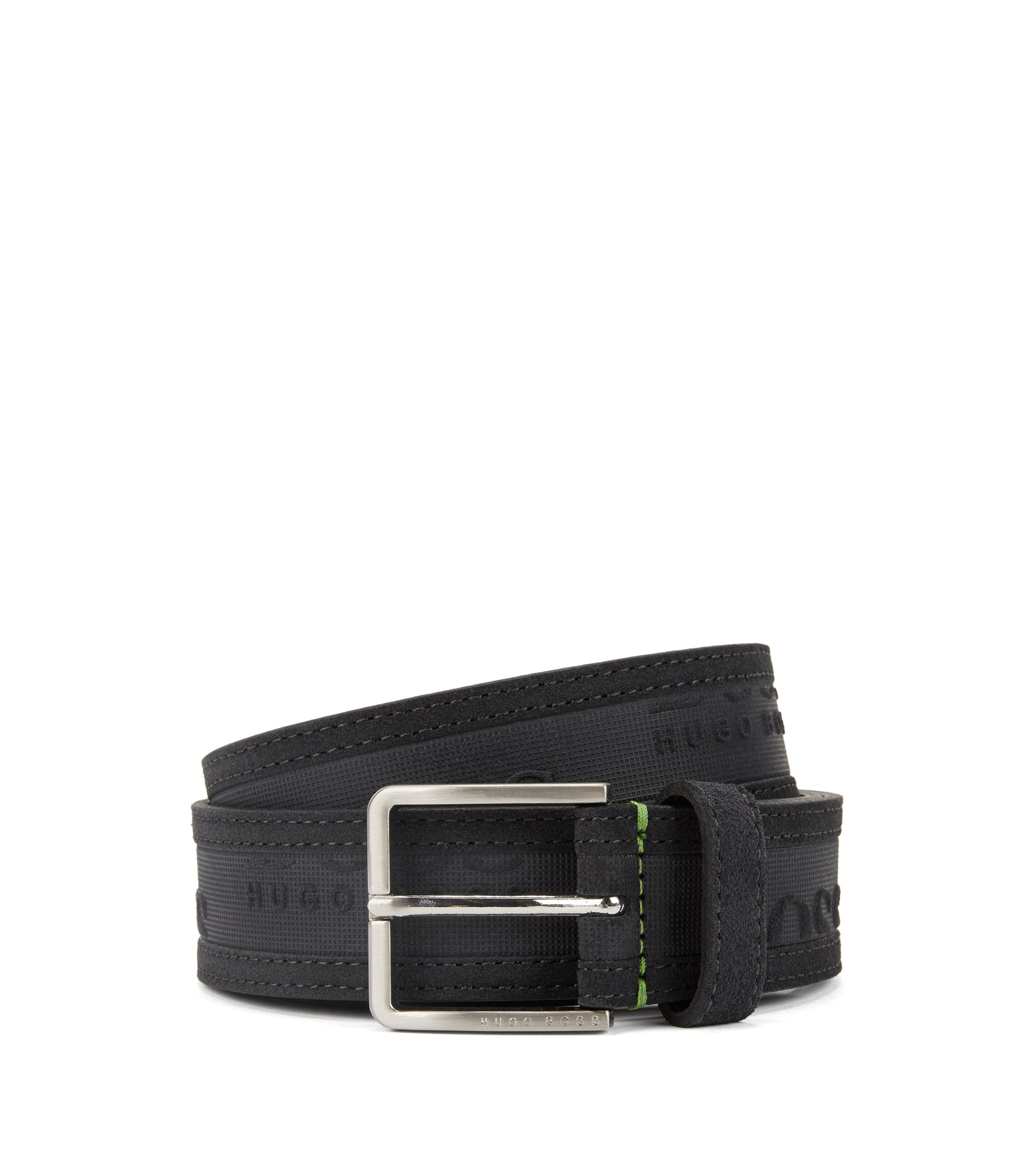 Logo-embossed belt in soft suede, Anthracite