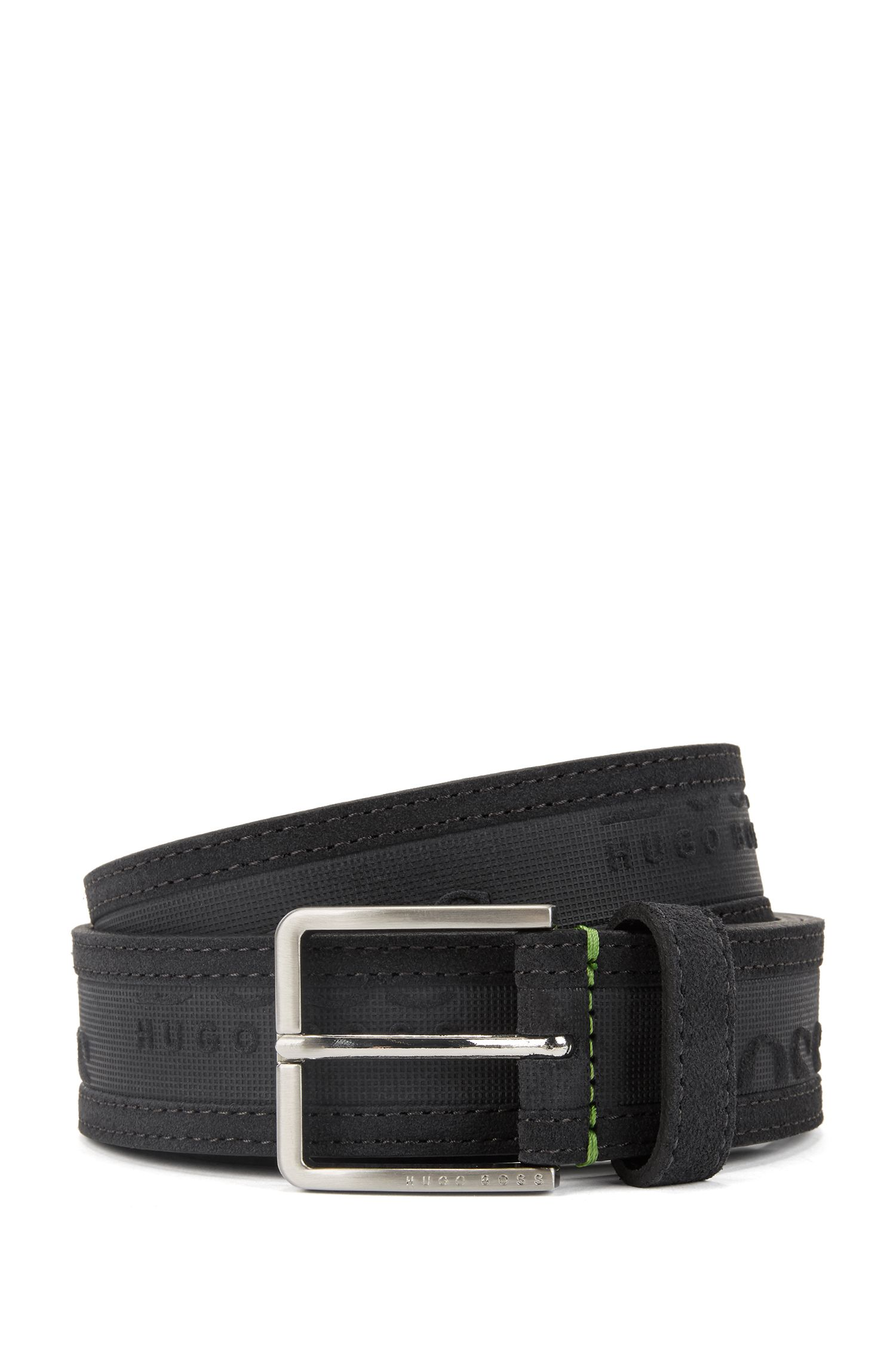 Hugo Boss - Logo-embossed belt in soft suede - 1