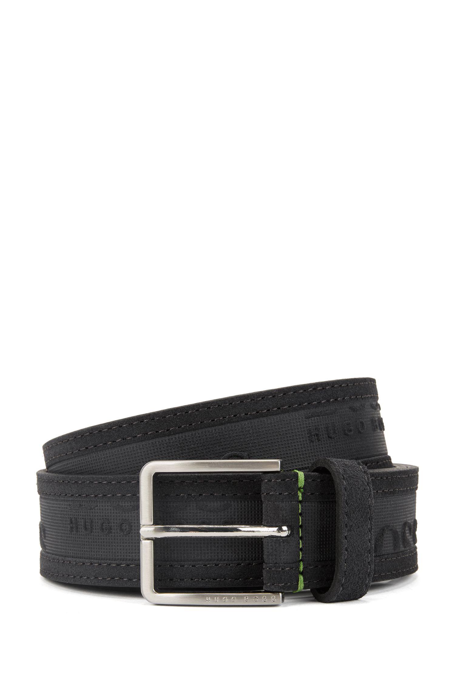 Logo-embossed belt in soft suede, Anthracite