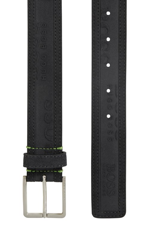 Hugo Boss - Logo-embossed belt in soft suede - 3