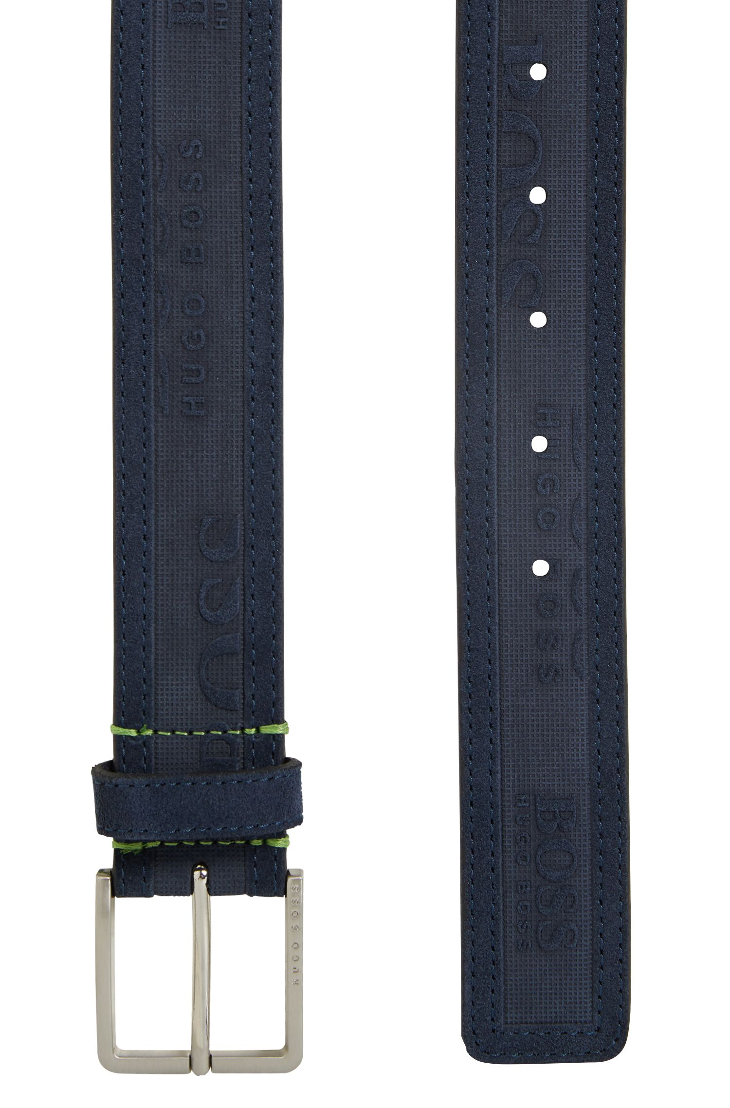 Logo-embossed belt in soft suede, Dark Blue