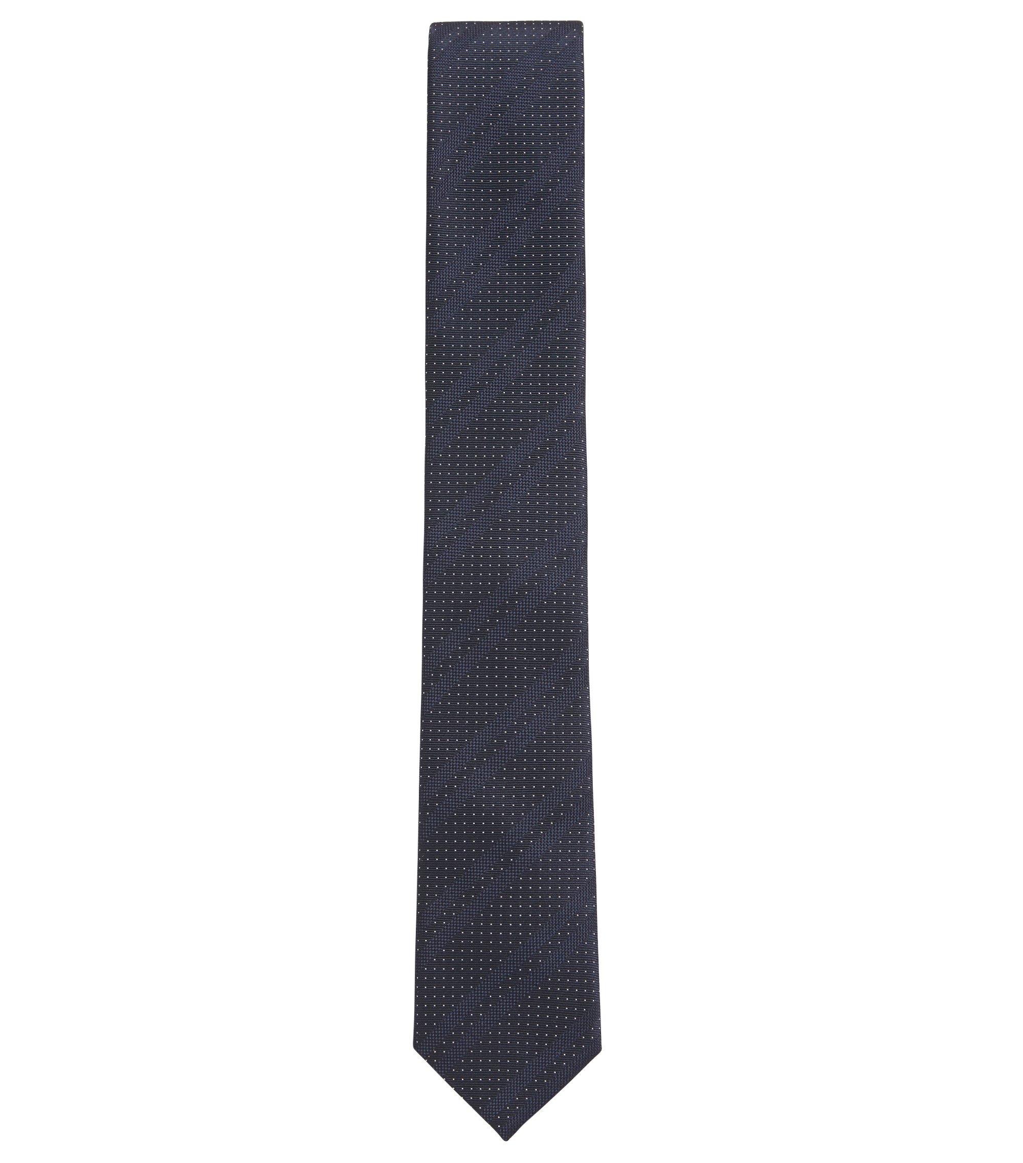 Italian-made silk-jacquard tie with diagonal stripes, Dark Blue
