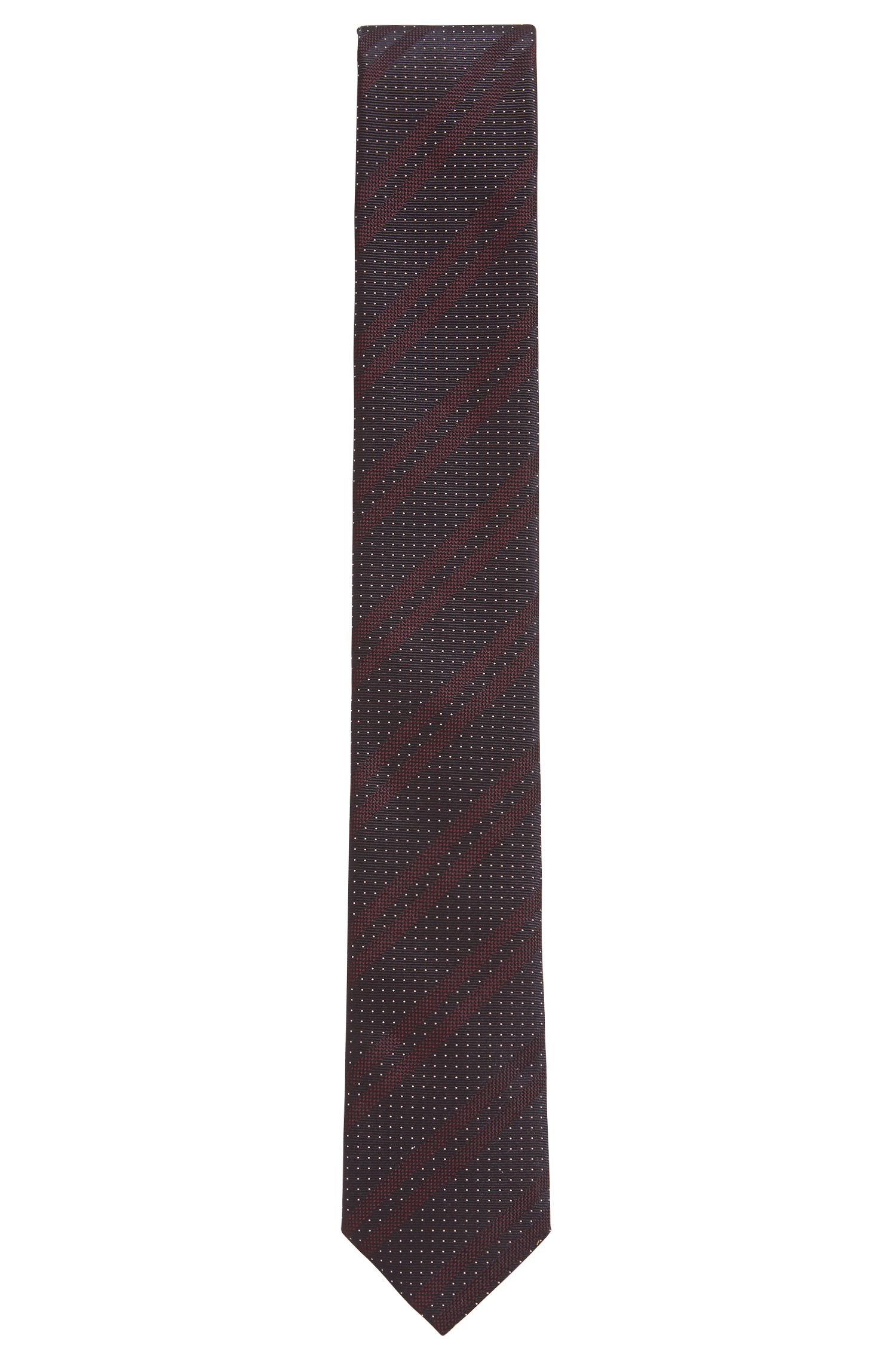 Italian-made silk-jacquard tie with diagonal stripes, Dark Purple