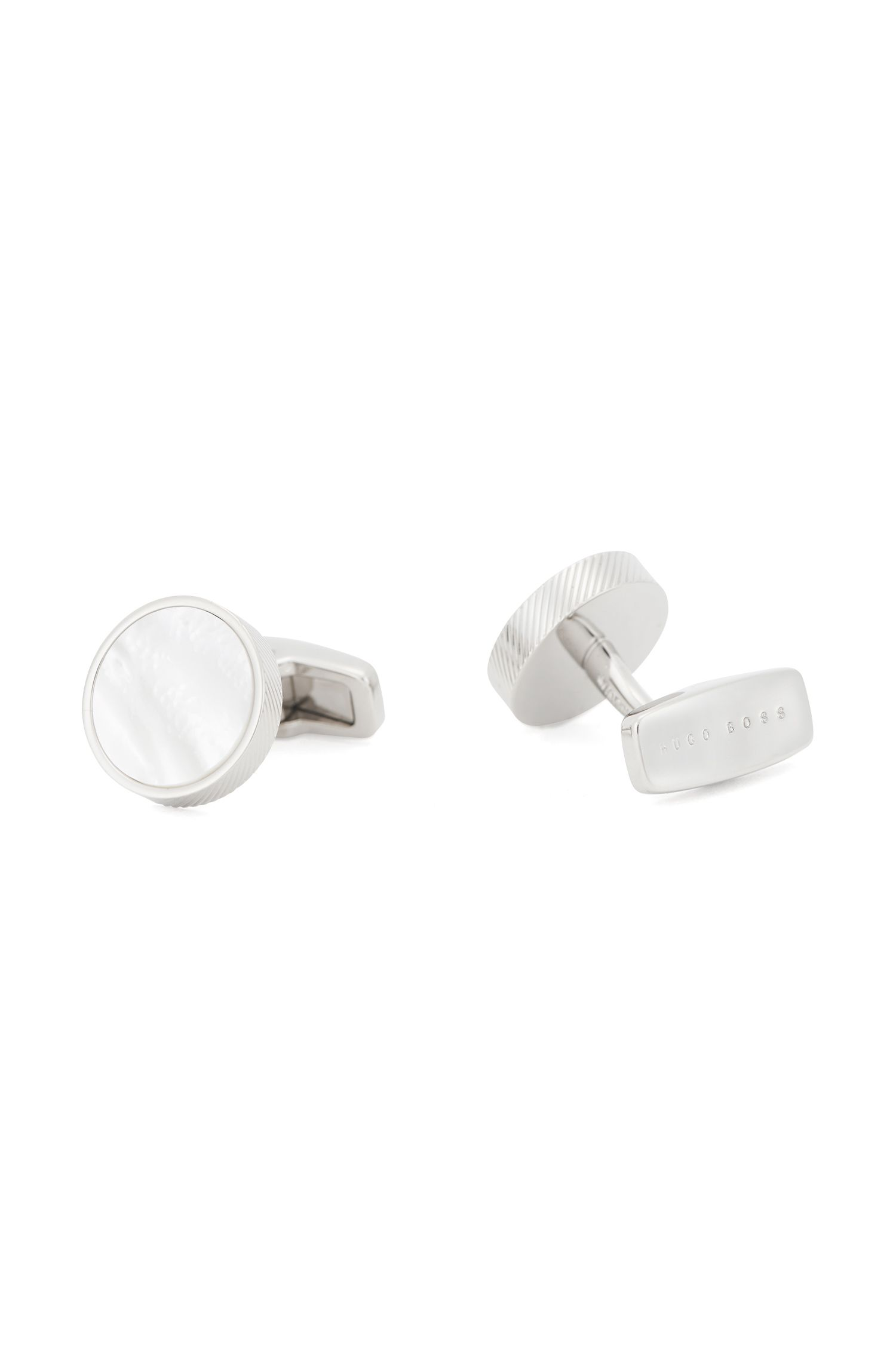 Italian-made cufflinks with mother-of-pearl core, White