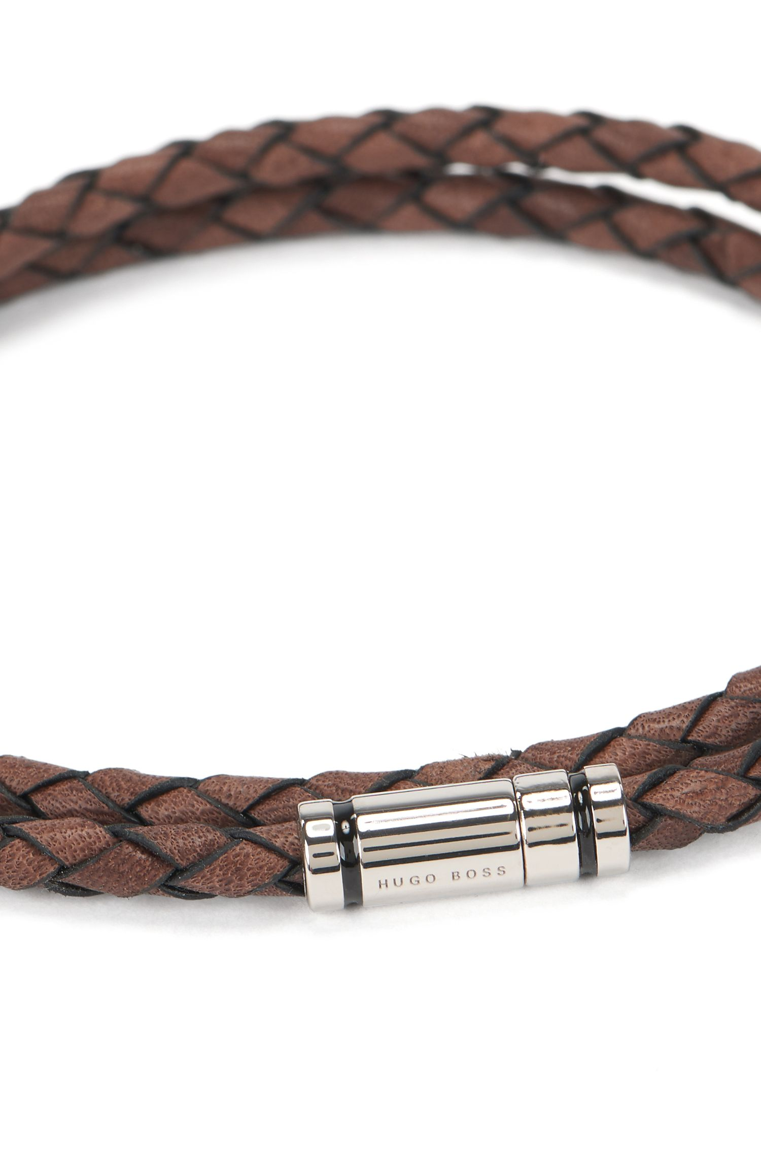 Braided leather bracelet with enamel-stripe snap closure