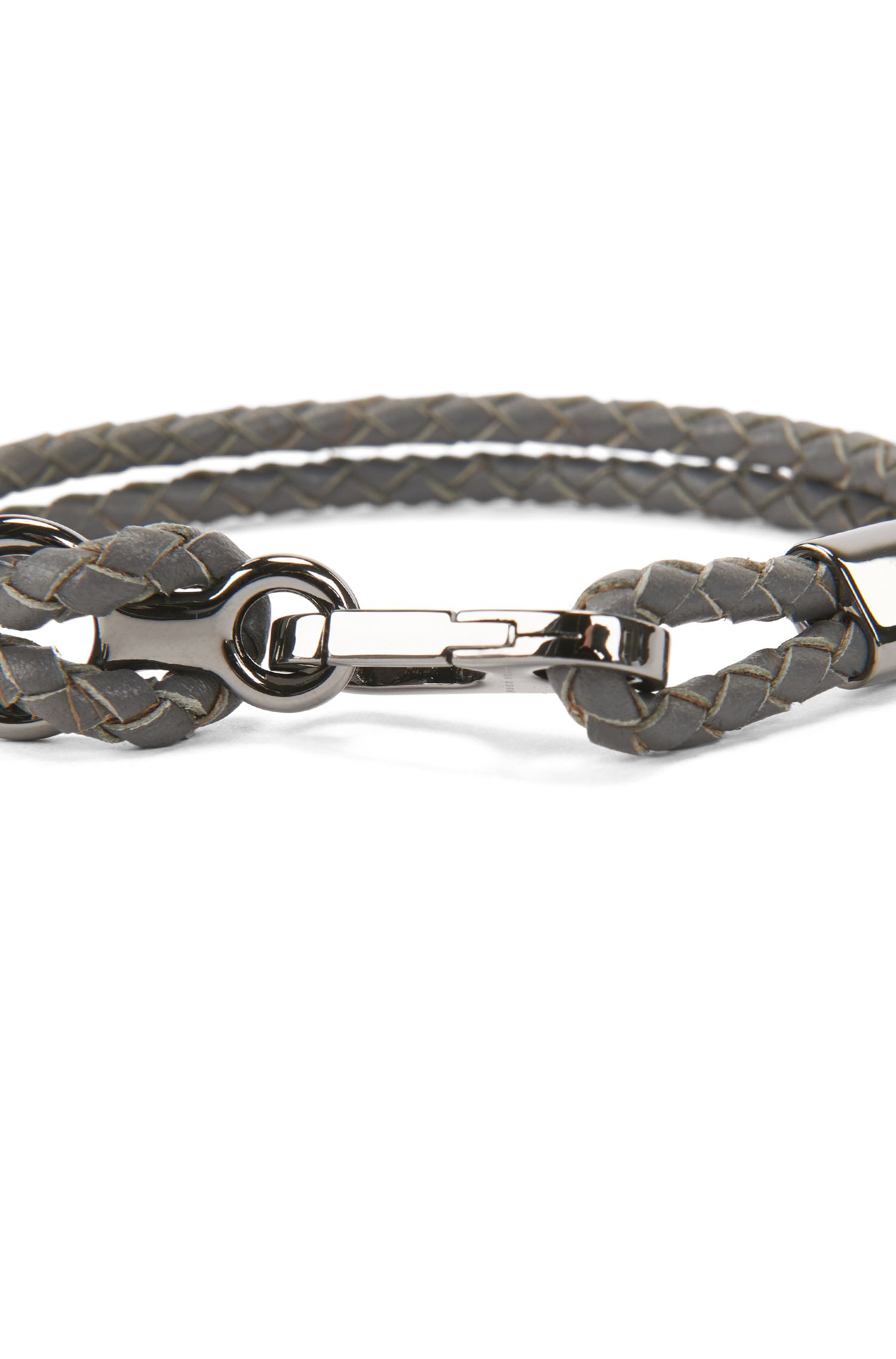 Double braided calf-leather bracelet with carabiner closure, Grey