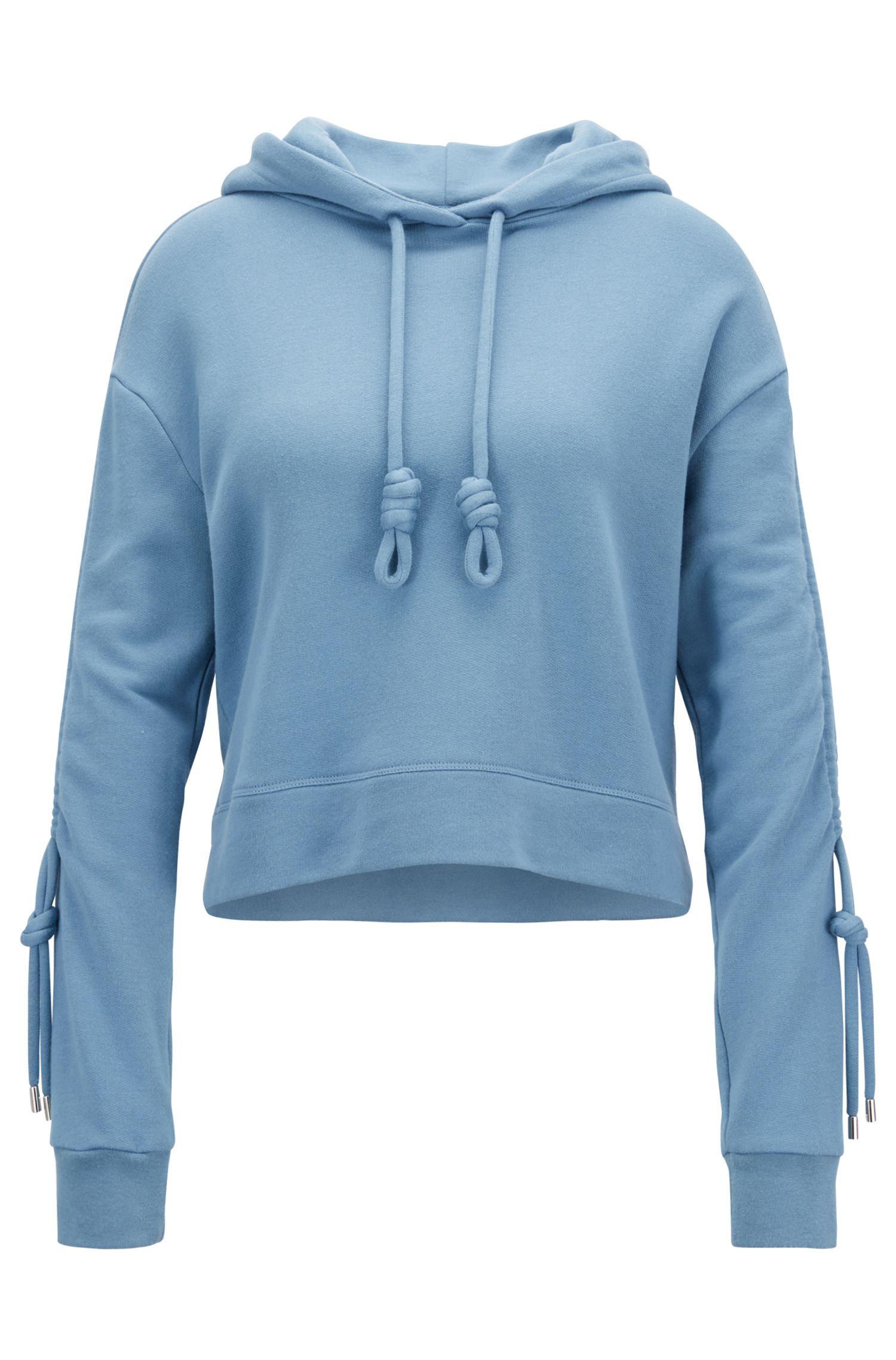Kapuzen-Sweatshirt aus Terry in Cropped-Länge mit gerafften Ärmeln