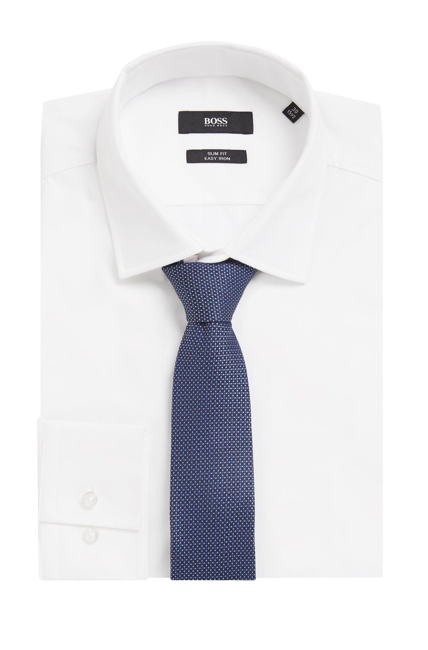 Cravate à motif en jacquard de soie confectionnée en Italie