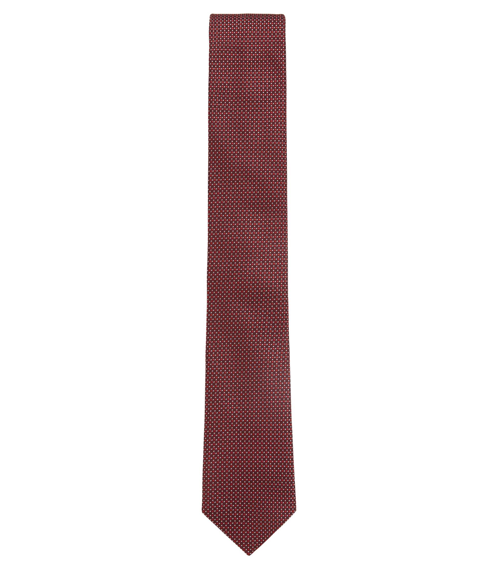 In Italië vervaardigde stropdas in een jacquard van zijde met dessin, Rood