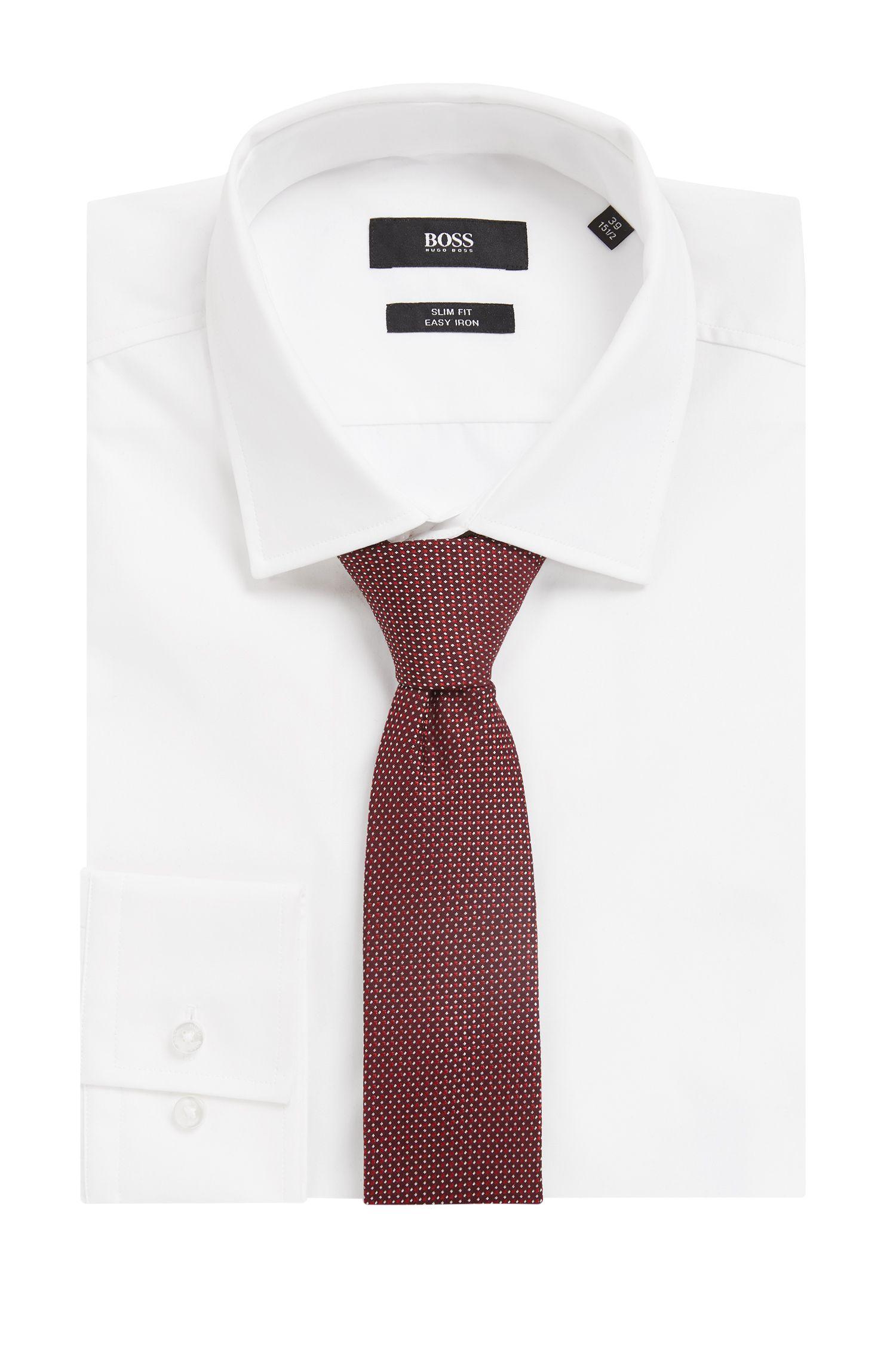 In Italien gefertigte Krawatte aus Seiden-Jacquard mit Muster, Rot