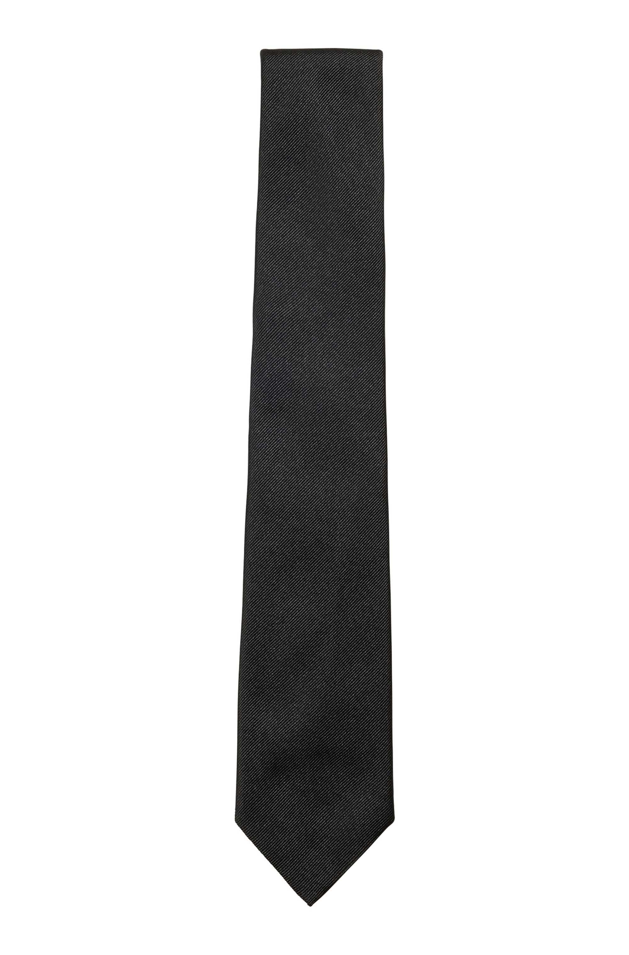 In Italien gefertigte Krawatte aus Seiden-Jacquard, Schwarz