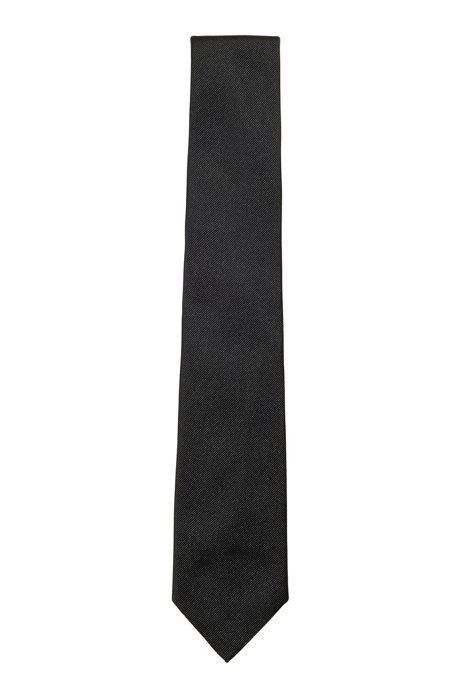 Italian-made tie in silk jacquard, Black