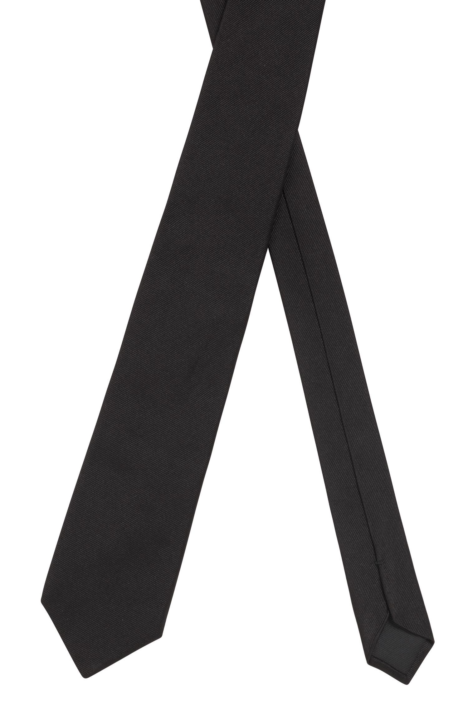 Cravatta realizzata in Italia in seta jacquard, Nero