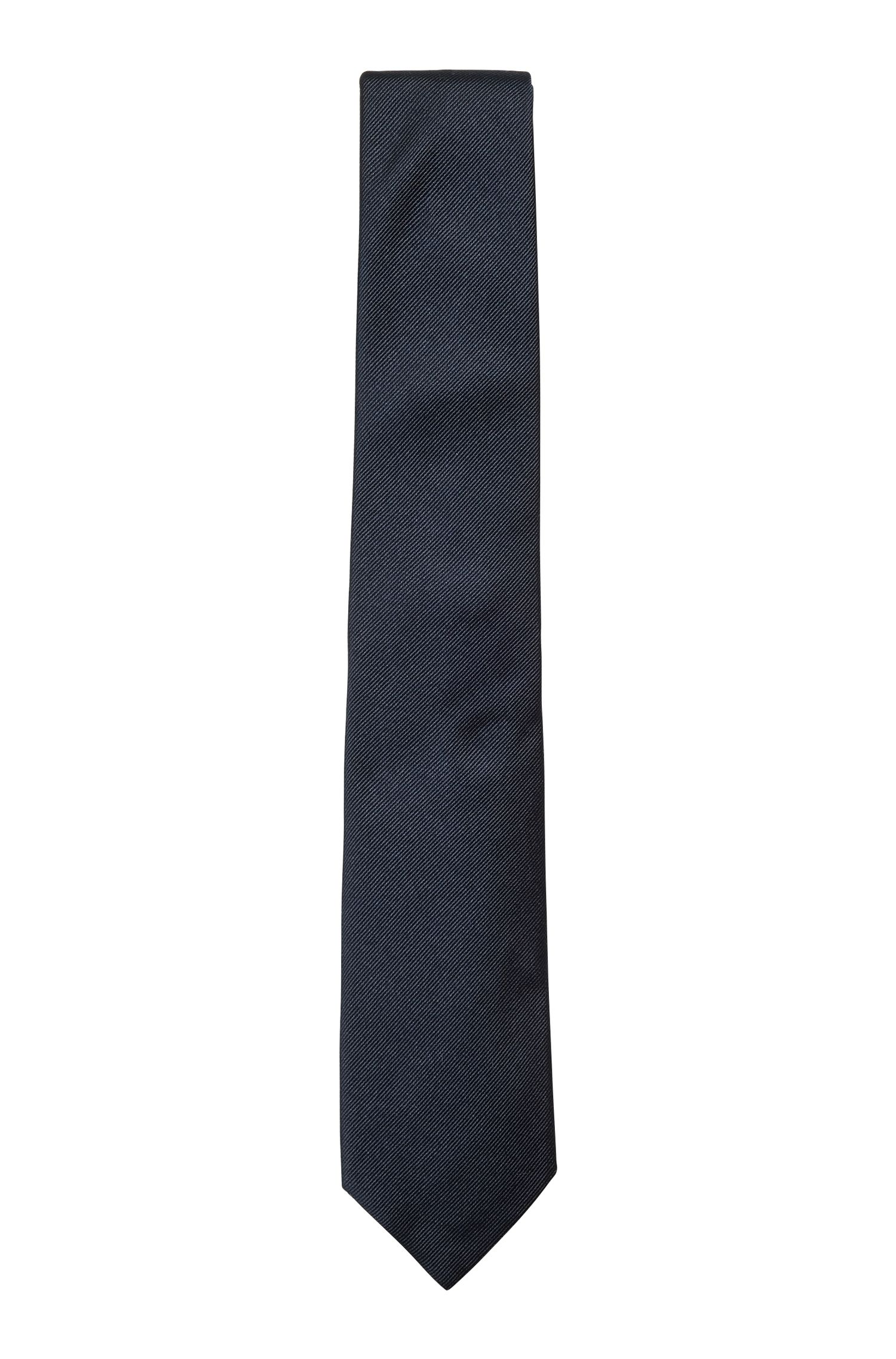 Corbata elaborada en Italia en jacquard de seda, Azul oscuro
